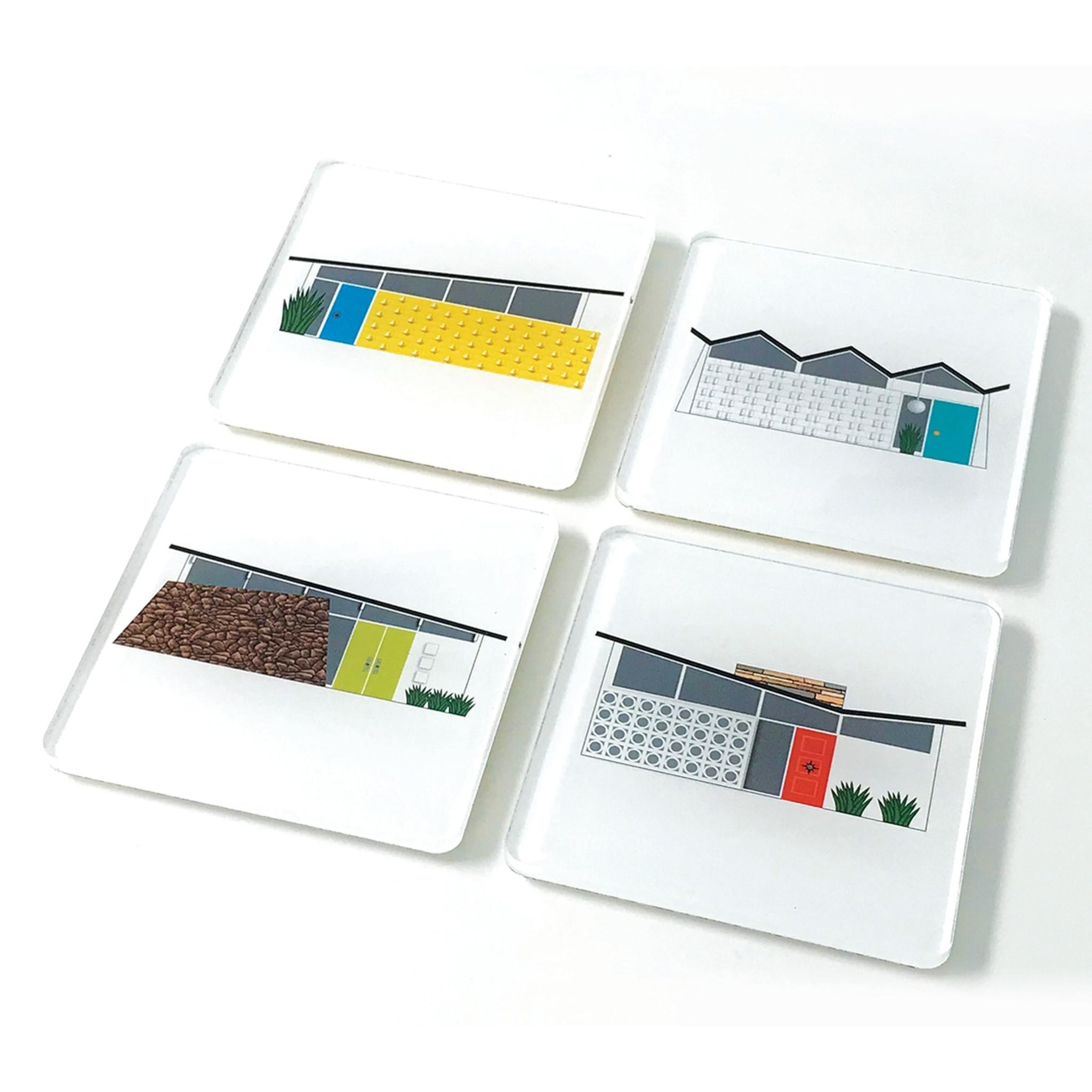 Mid Century Modern Houses Lucite Coaster, Set of 4