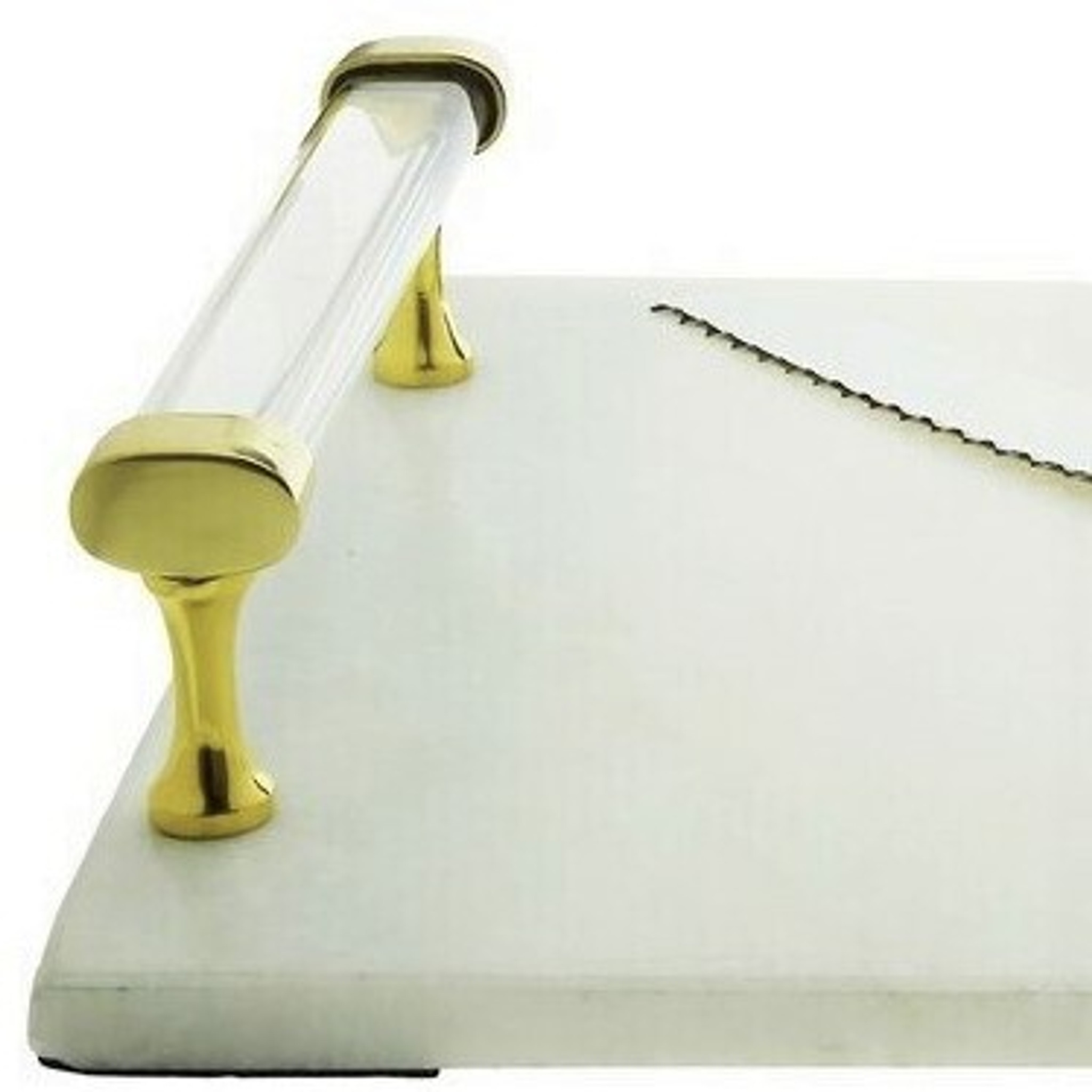 white marble gold lucite acrylic handle modern challah cutting board knife set