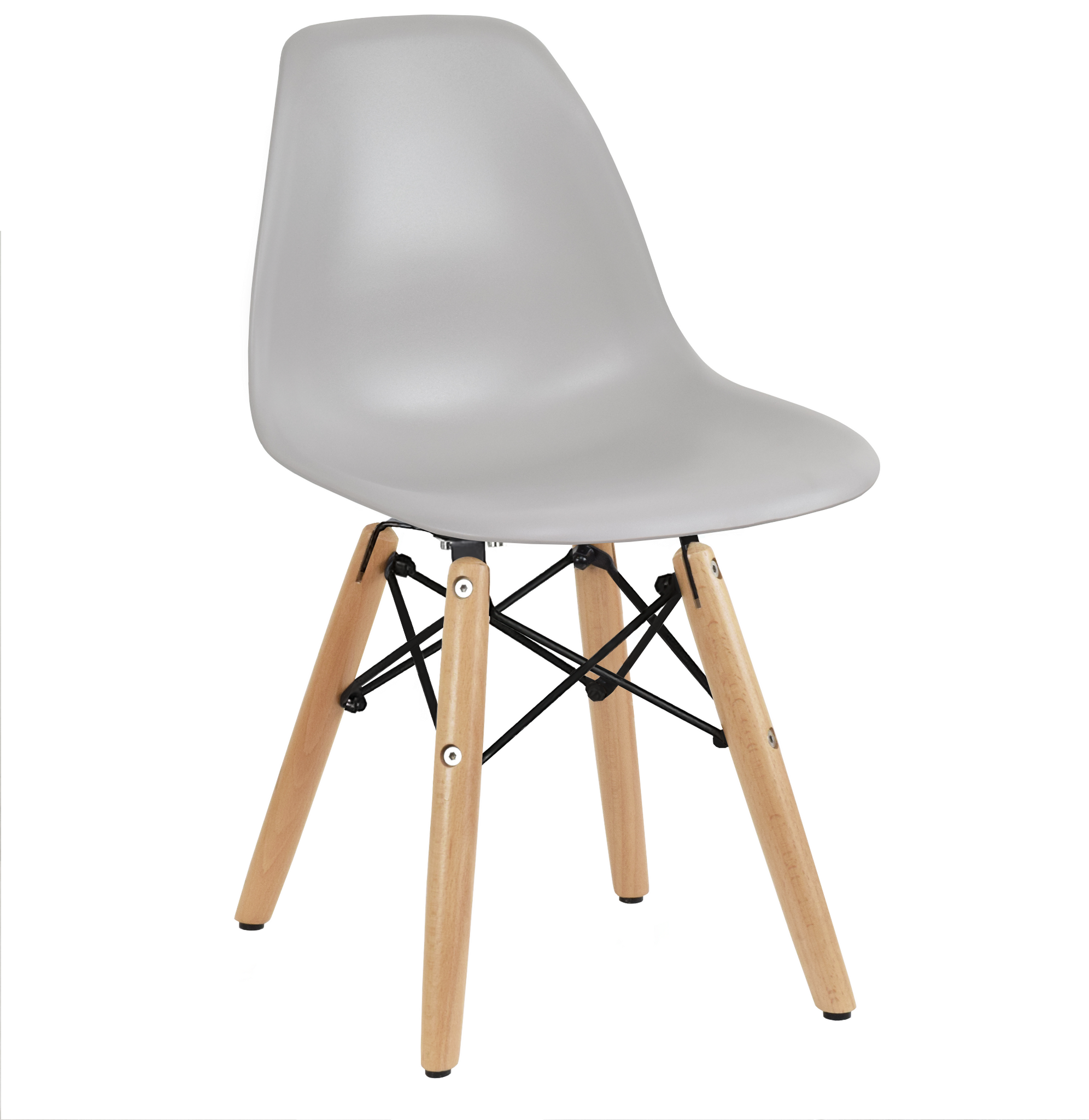Kids Size Grey Plastic Mid Century Chair with Wood Legs