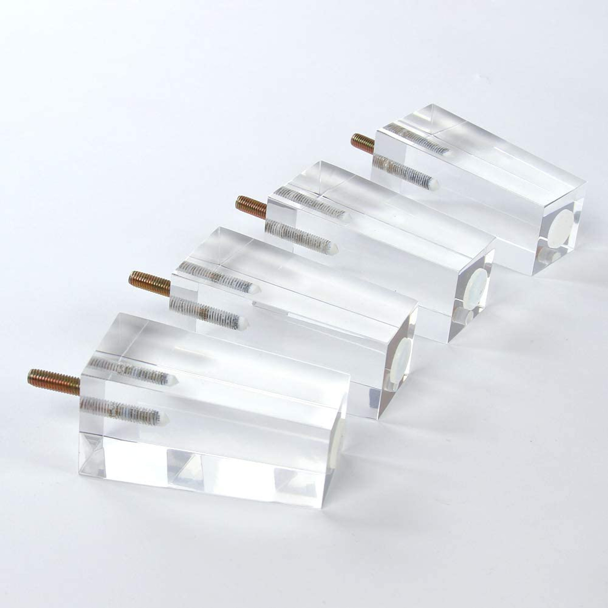 Clear Lucite Pyramid Furniture Legs, Set of 4,