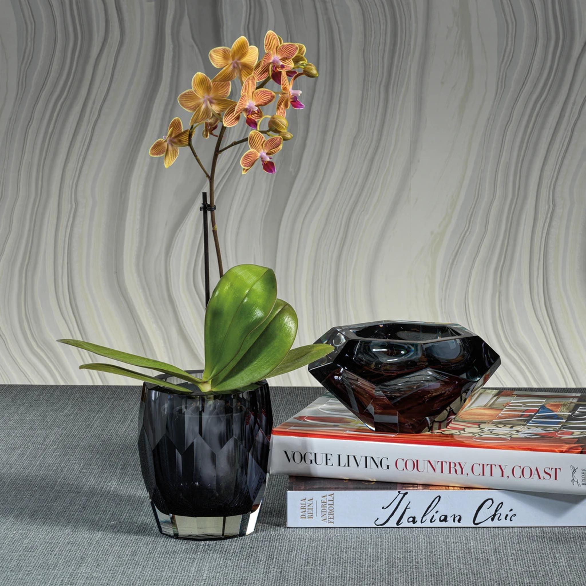 zodax chisel facet cut black smoke grey crystal glass decorative bowls set of 2 modern