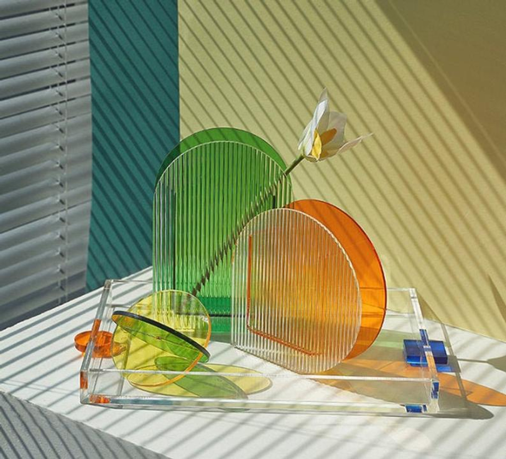 Thick Lucite Tray with Color Geometric Handles