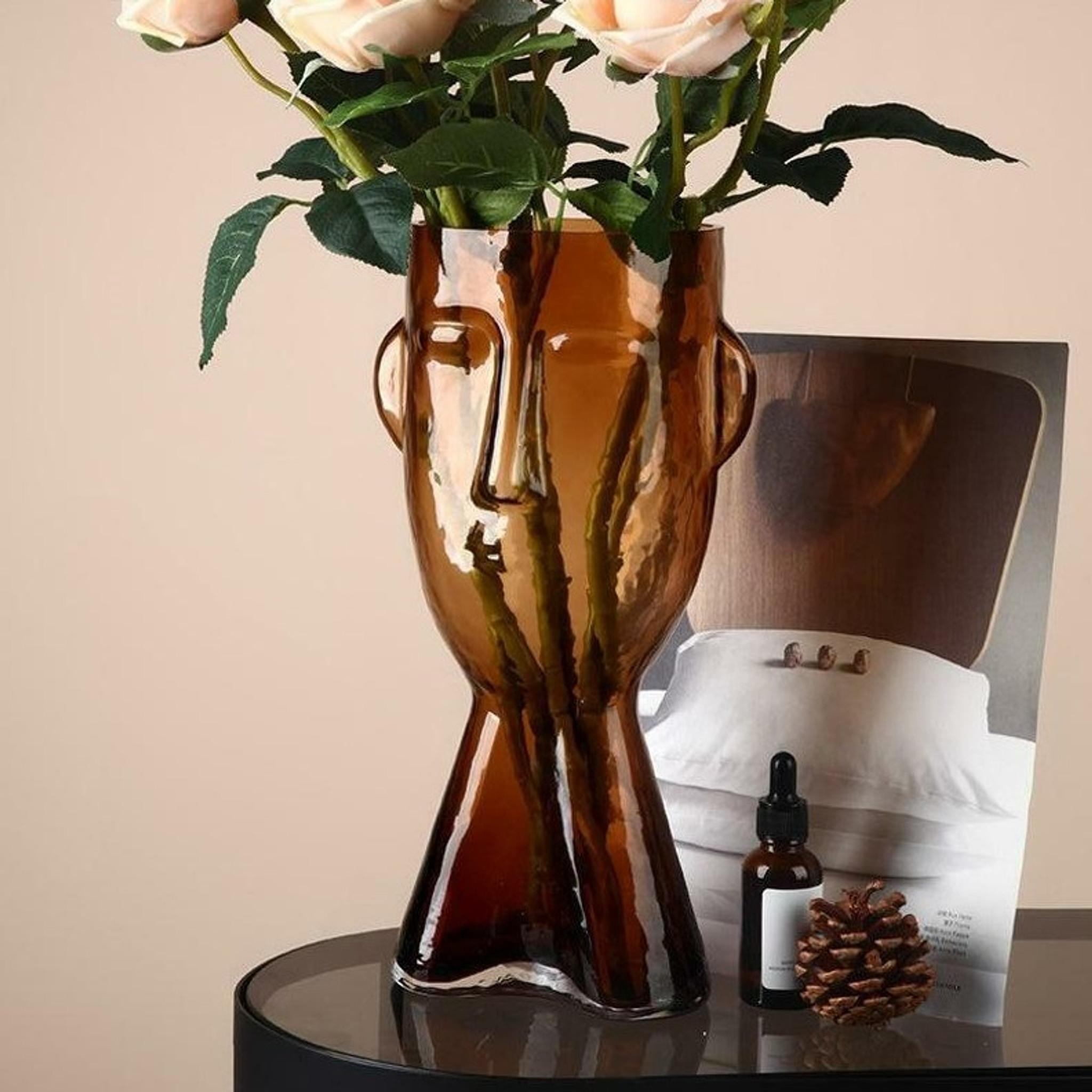 modern Amber and Smoke Grey Face Glass Vase