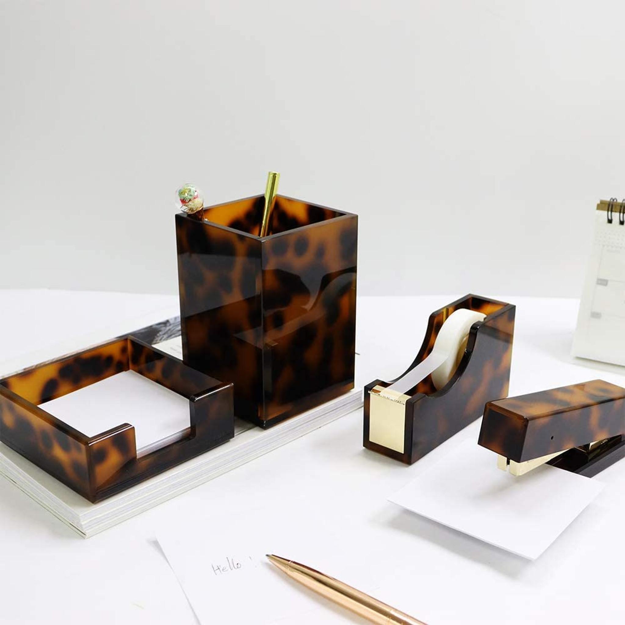 Clear Acrylic Tortoise Desk Set of 4