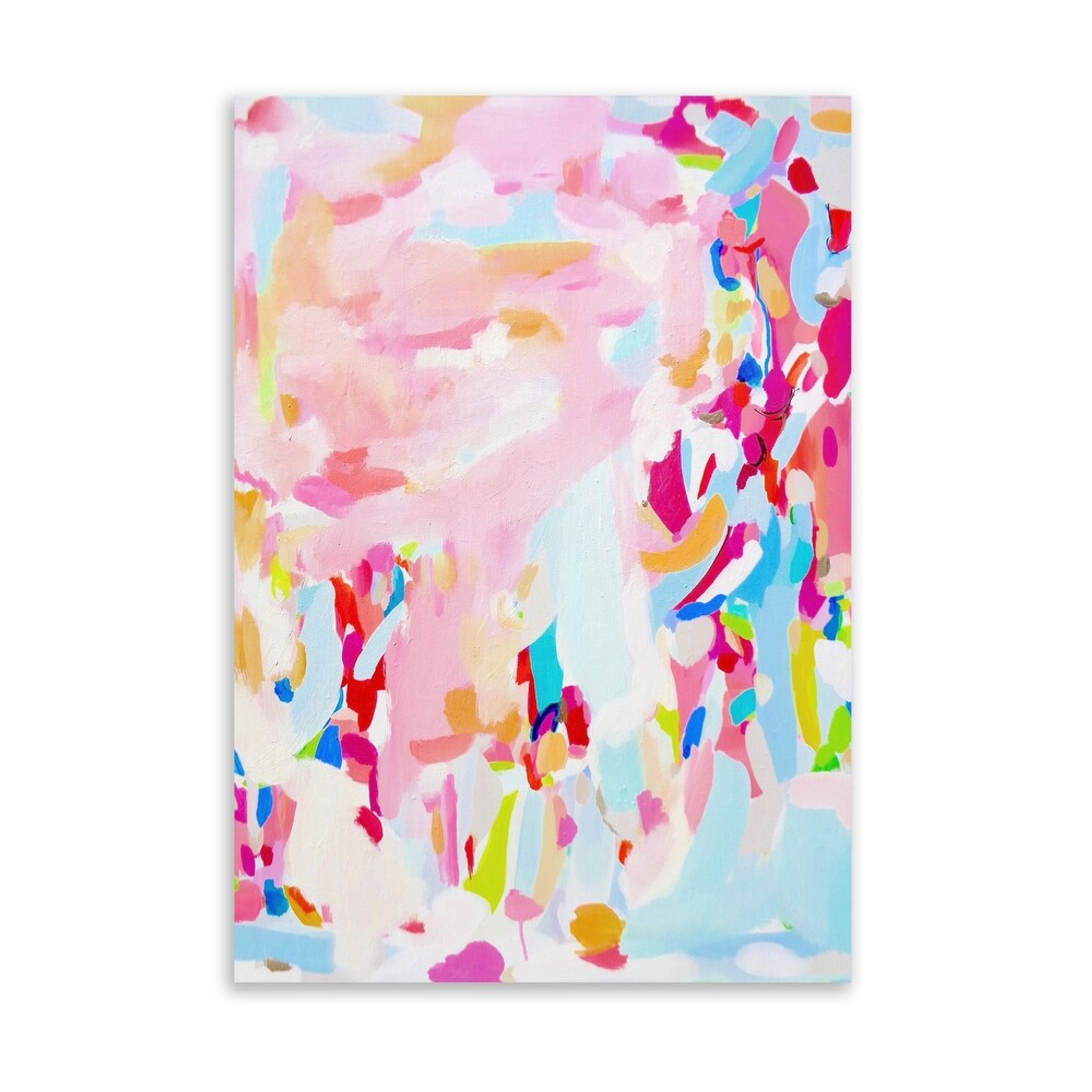 Abstract Pink and Light Blue Art on Acrylic (kavka design dirty blonde)