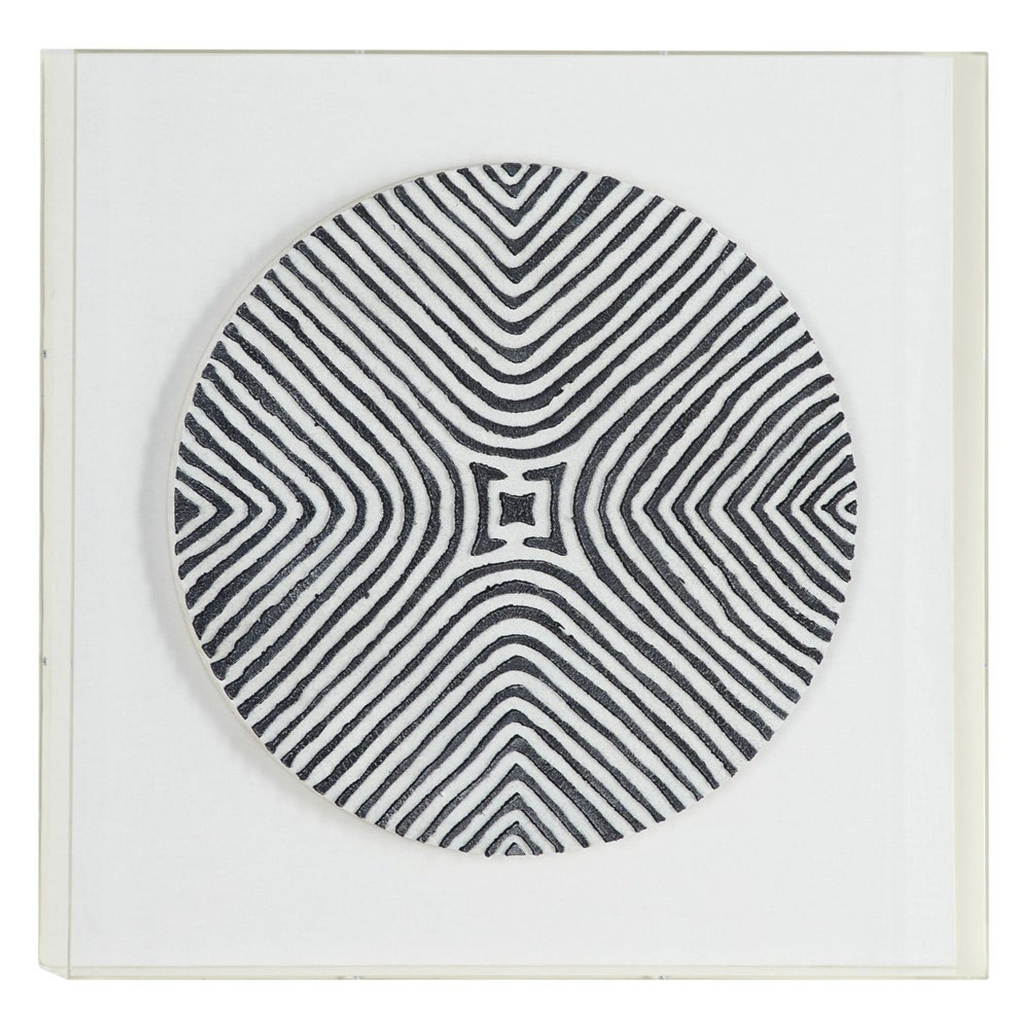 Black and White Tribal Wall Art in Clear Shadowbox