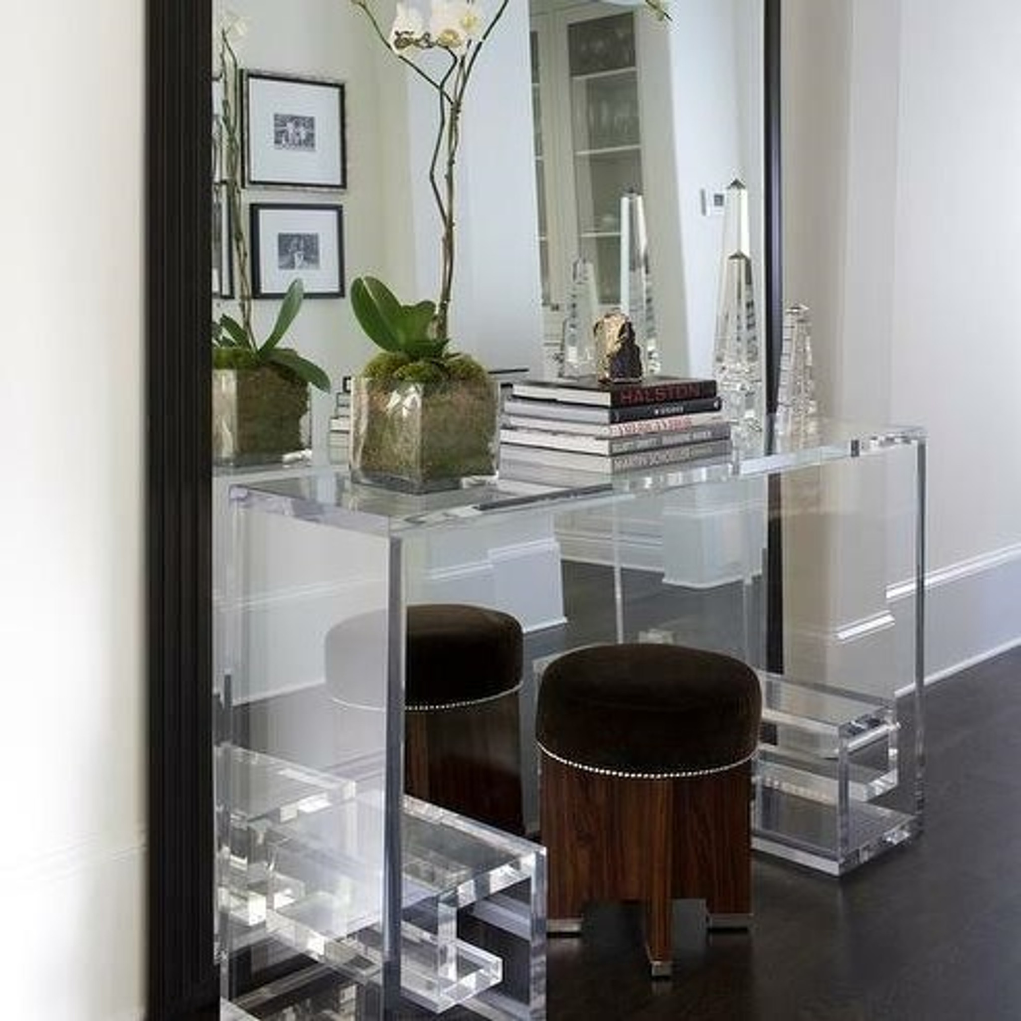 Thick Lucite Greek Key Console Table