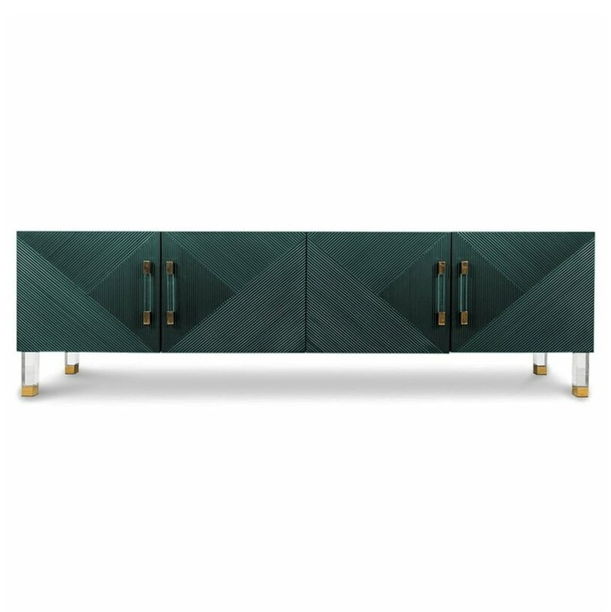 Green 4 Door Ribbed Credenza with Lucite Hardware