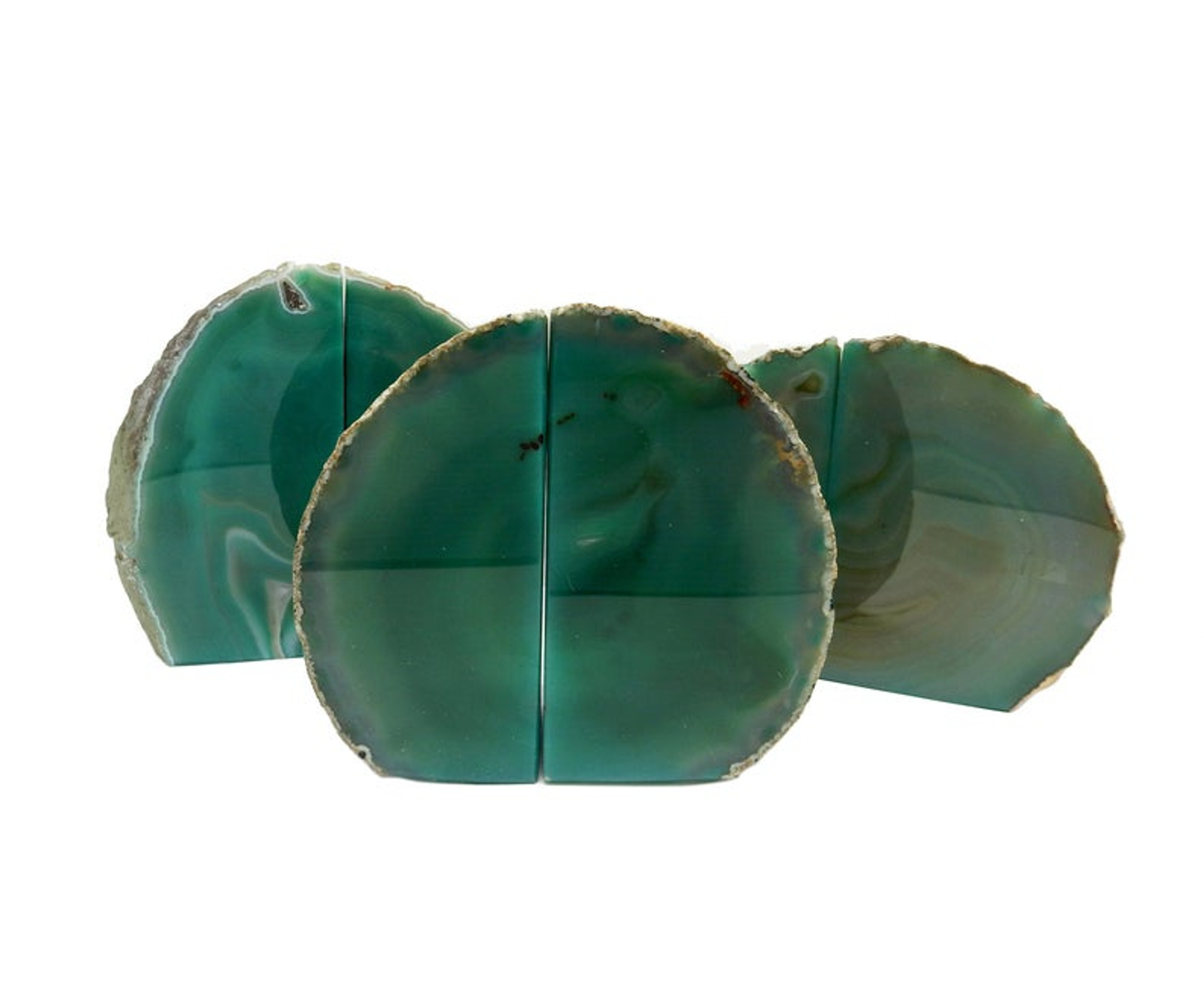 Green Agate Geode Bookends, Pair