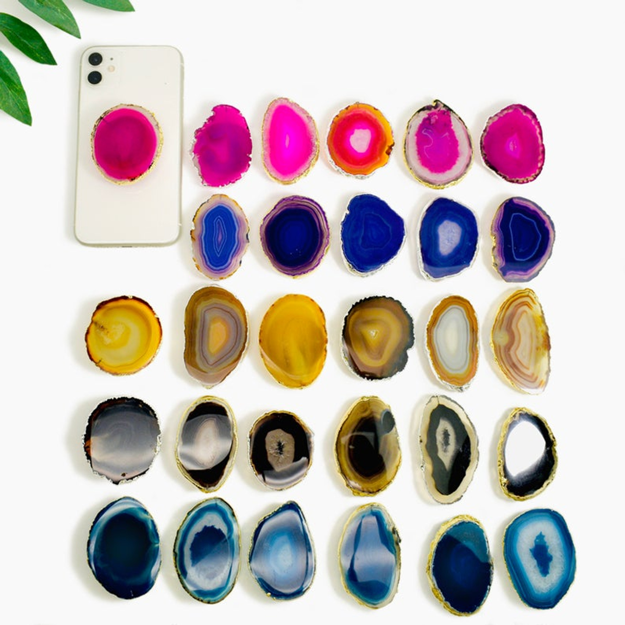 Color Agate Crystal Cell Phone Grip, Color Options kids teen holder