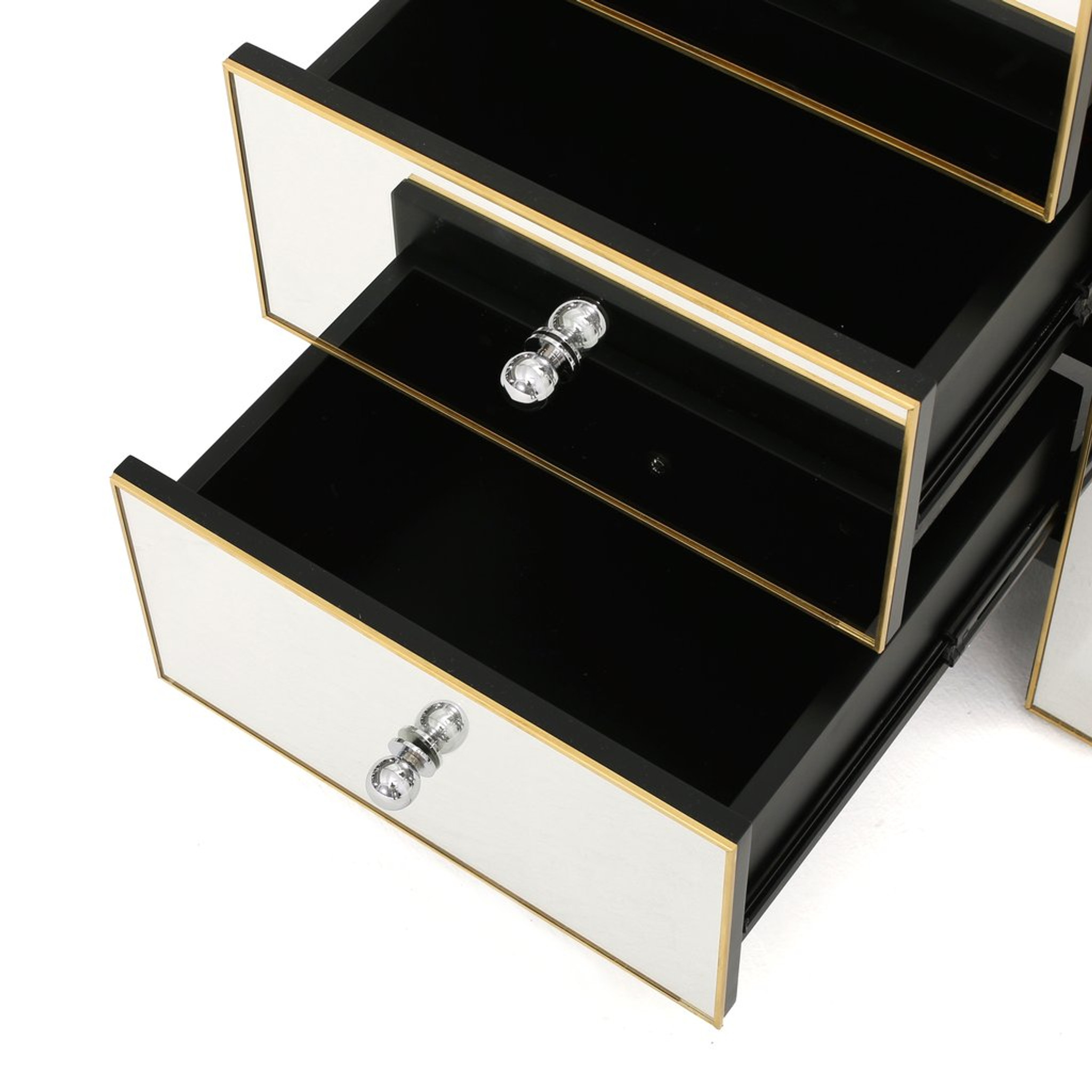 Mirrored 3 Drawer Nightstand with Gold Detail (298213)