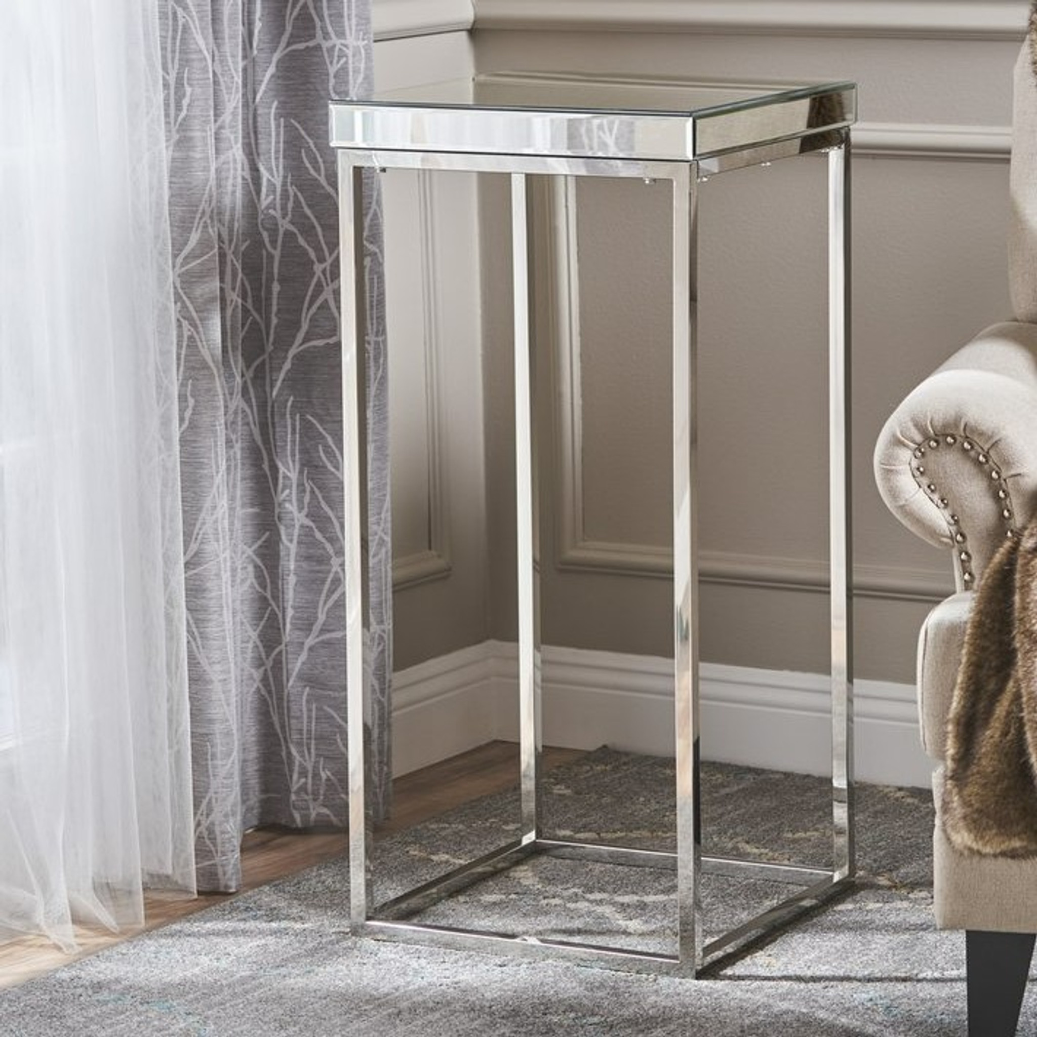 Mirror Top Pedestal with Silver Base plant stand