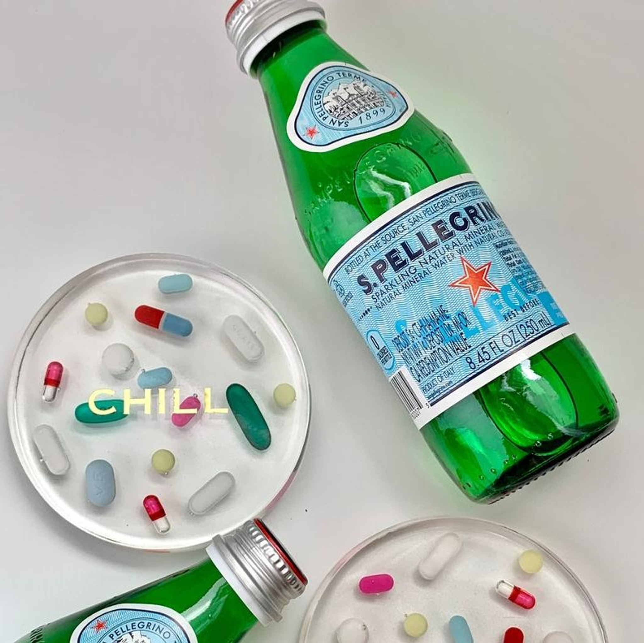 Chill Pill Whimsical Lucite Coaster,  Set of 4
