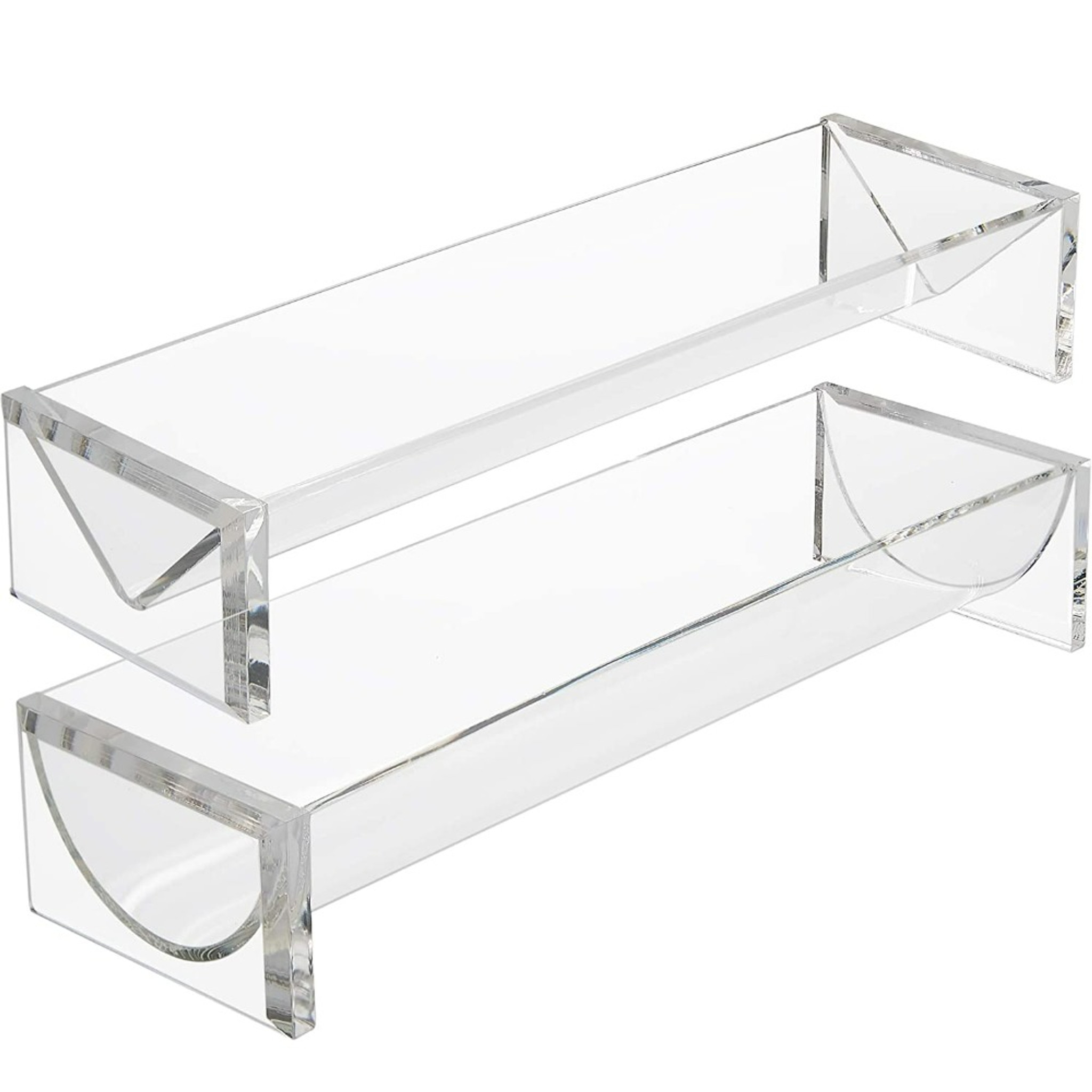 Clear Lucite Cracker Trays, Set of 2