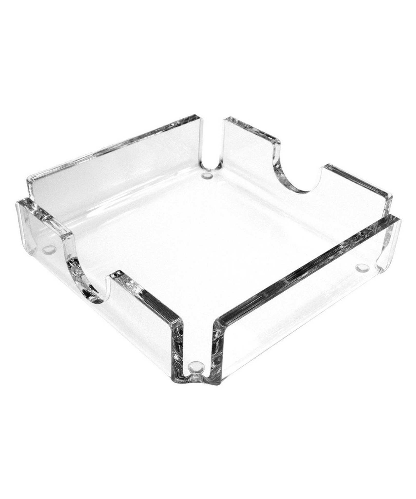 Square Lucite Coasters and Holder, Set of 4