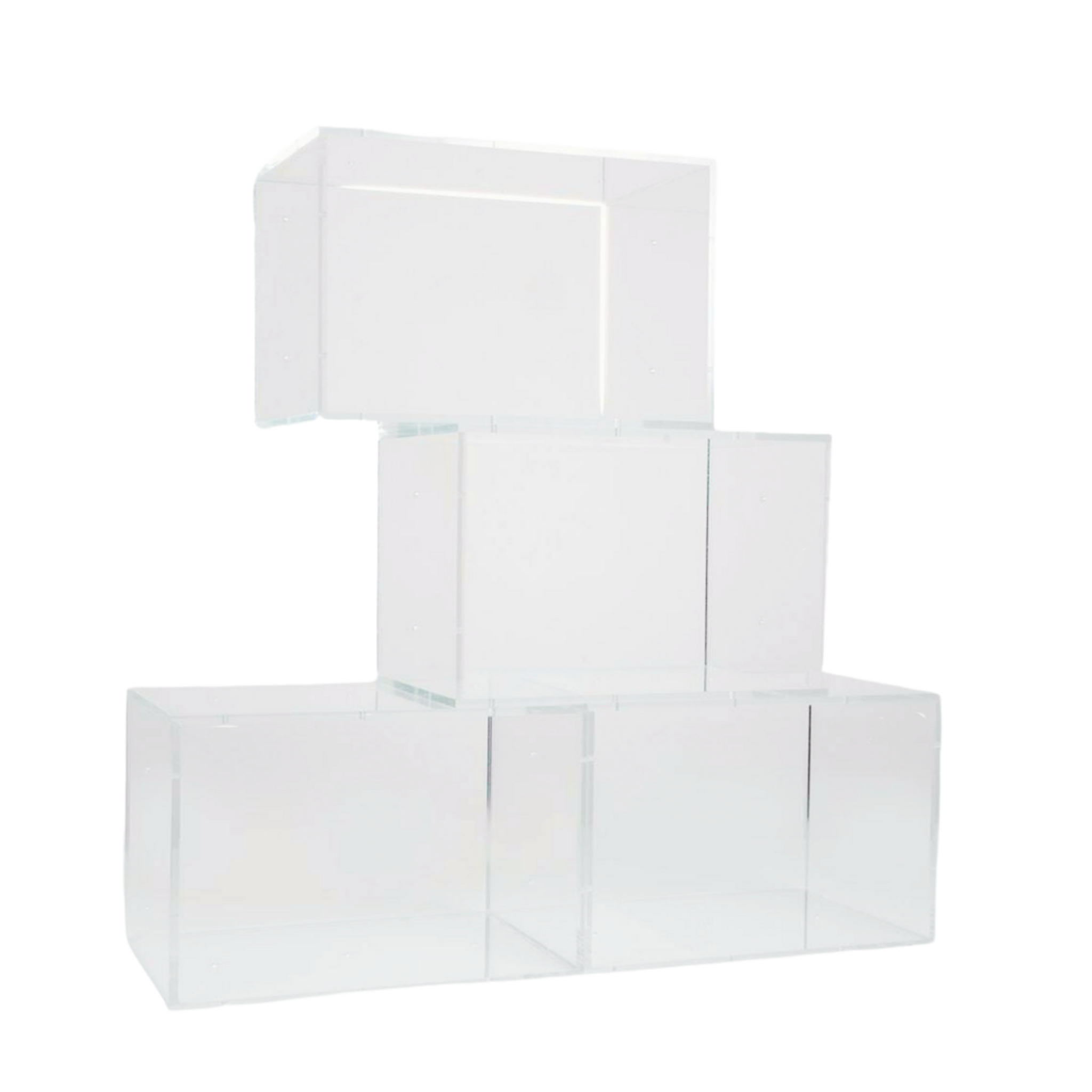 Clear Acrylic Add On Stackable Cubes, Set of 4
