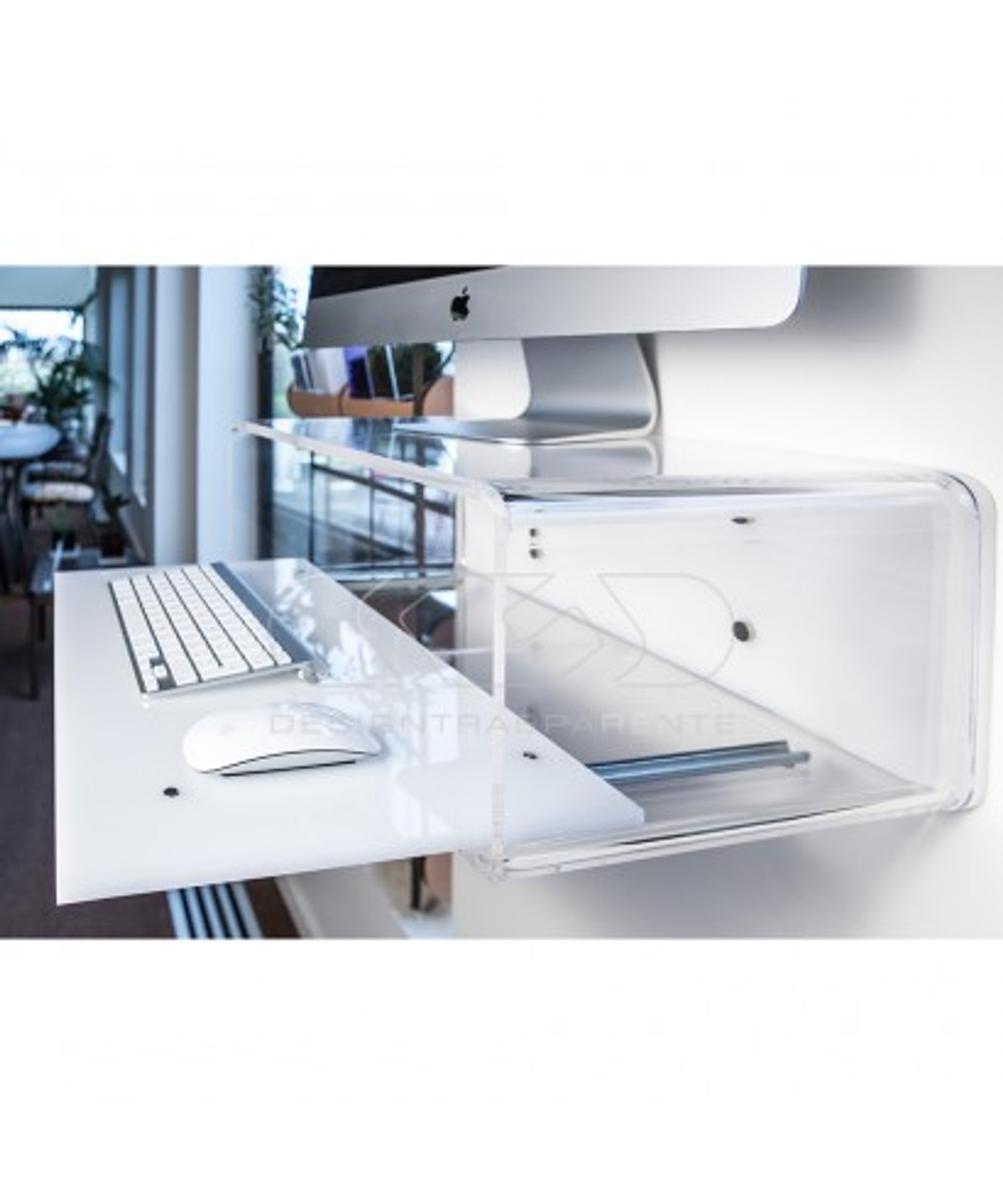 Wall Mounted Clear Acrylic Computer Desk stand up attached