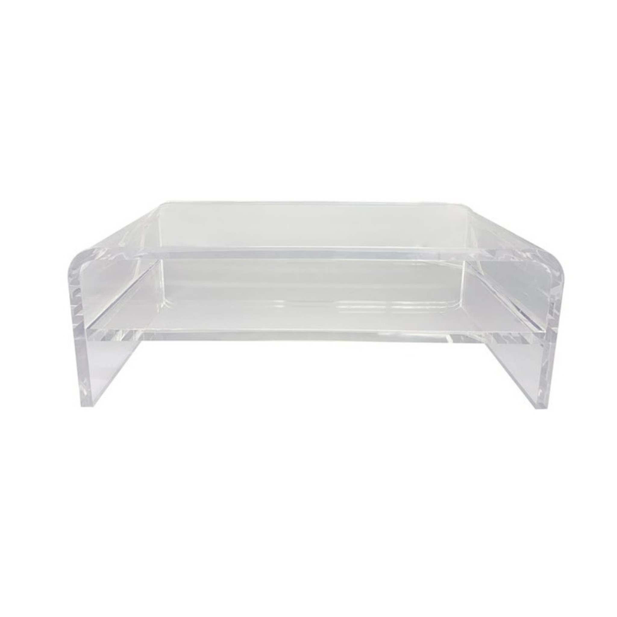 2 Tier Thick Lucite Computer Riser with Storage Shelf