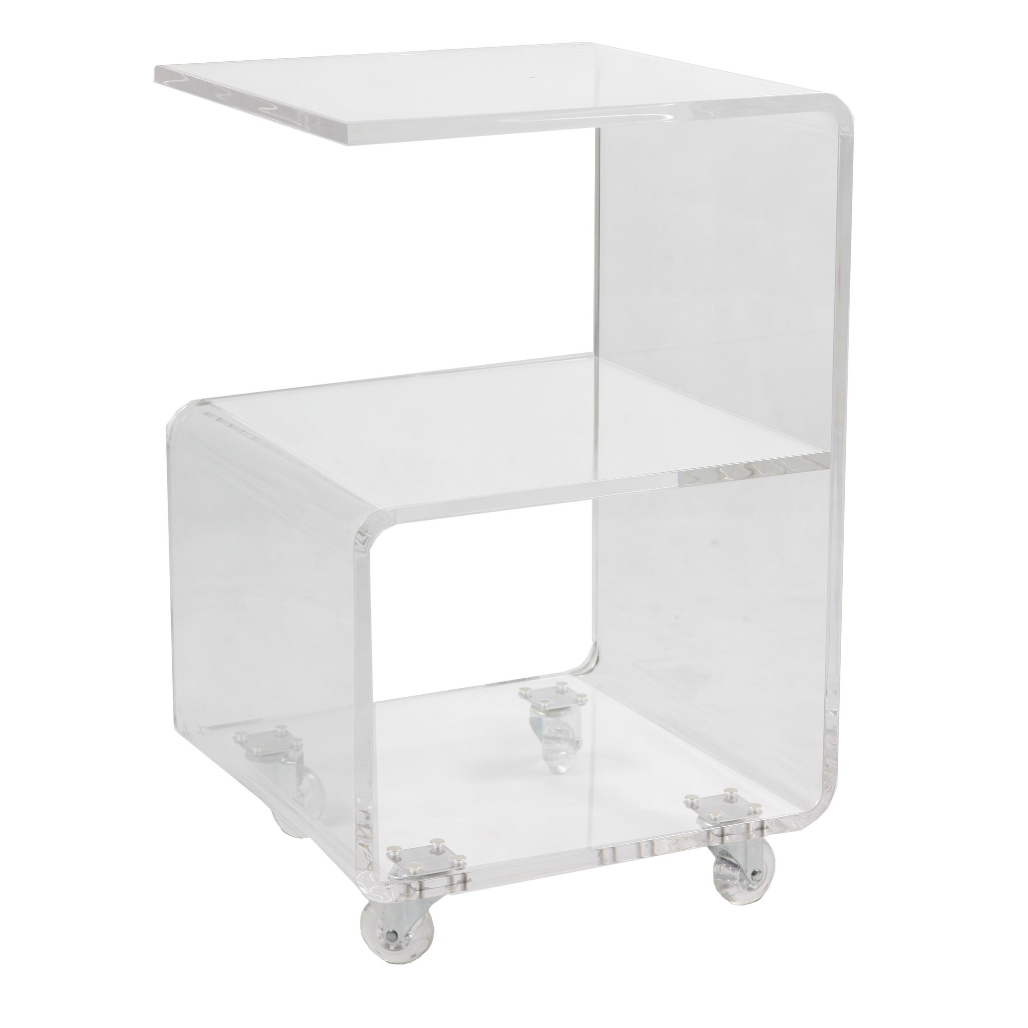 Clear Lucite Storage Side Table on Wheels rolling storage accent
