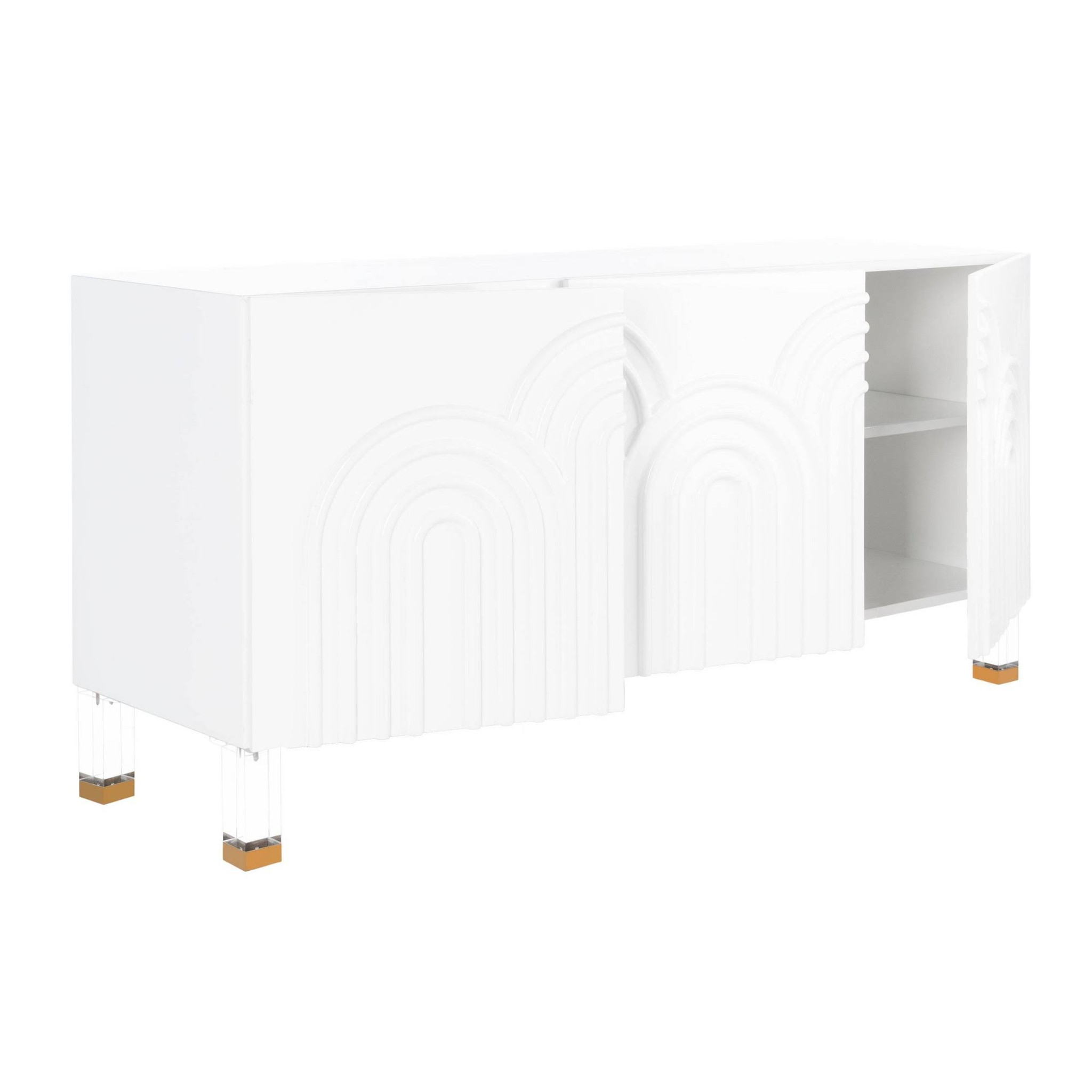 white lacquer safavieh couture Saturn wave acrylic sideboard lucite legs
