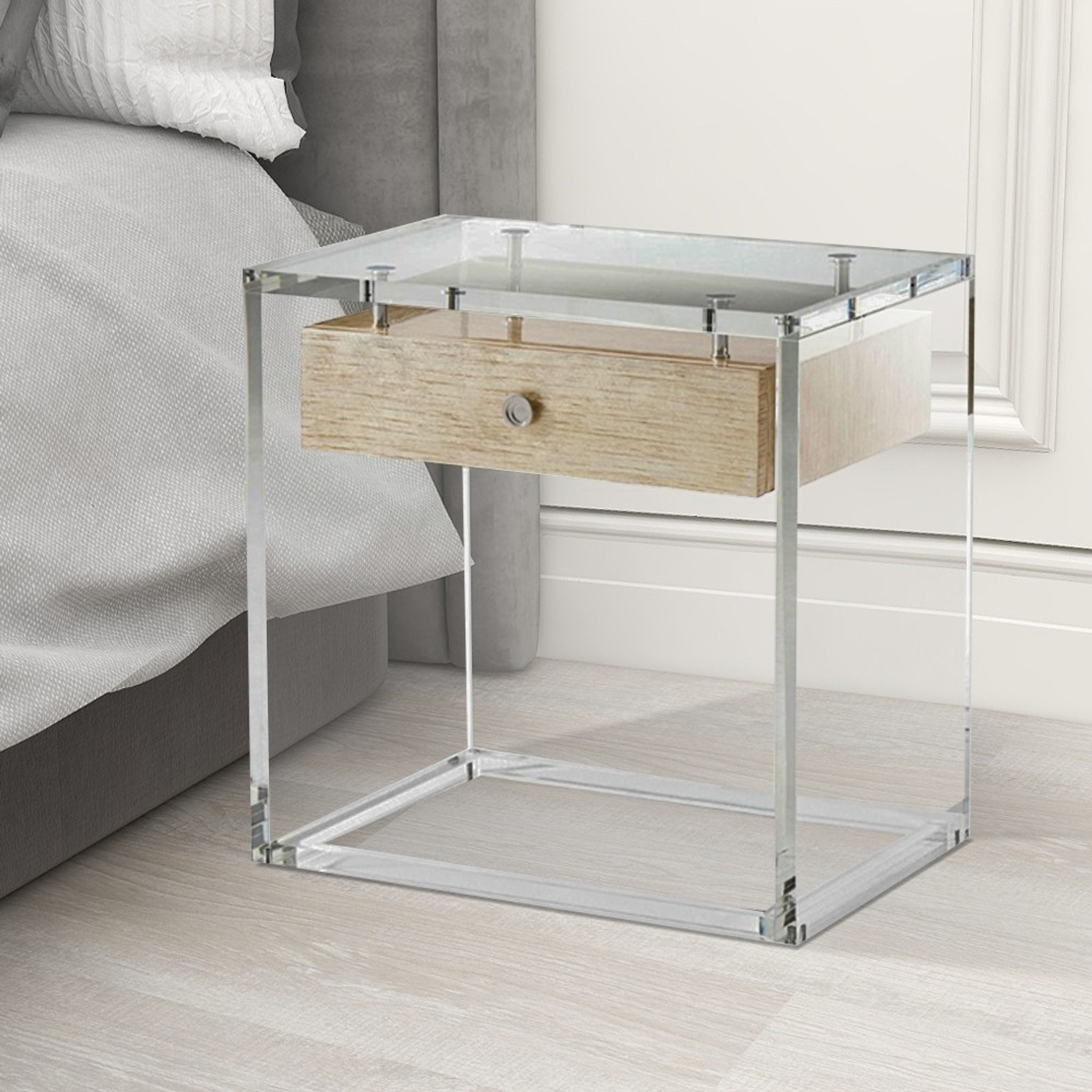 Clear Acrylic Bedside Table with Wood Drawer