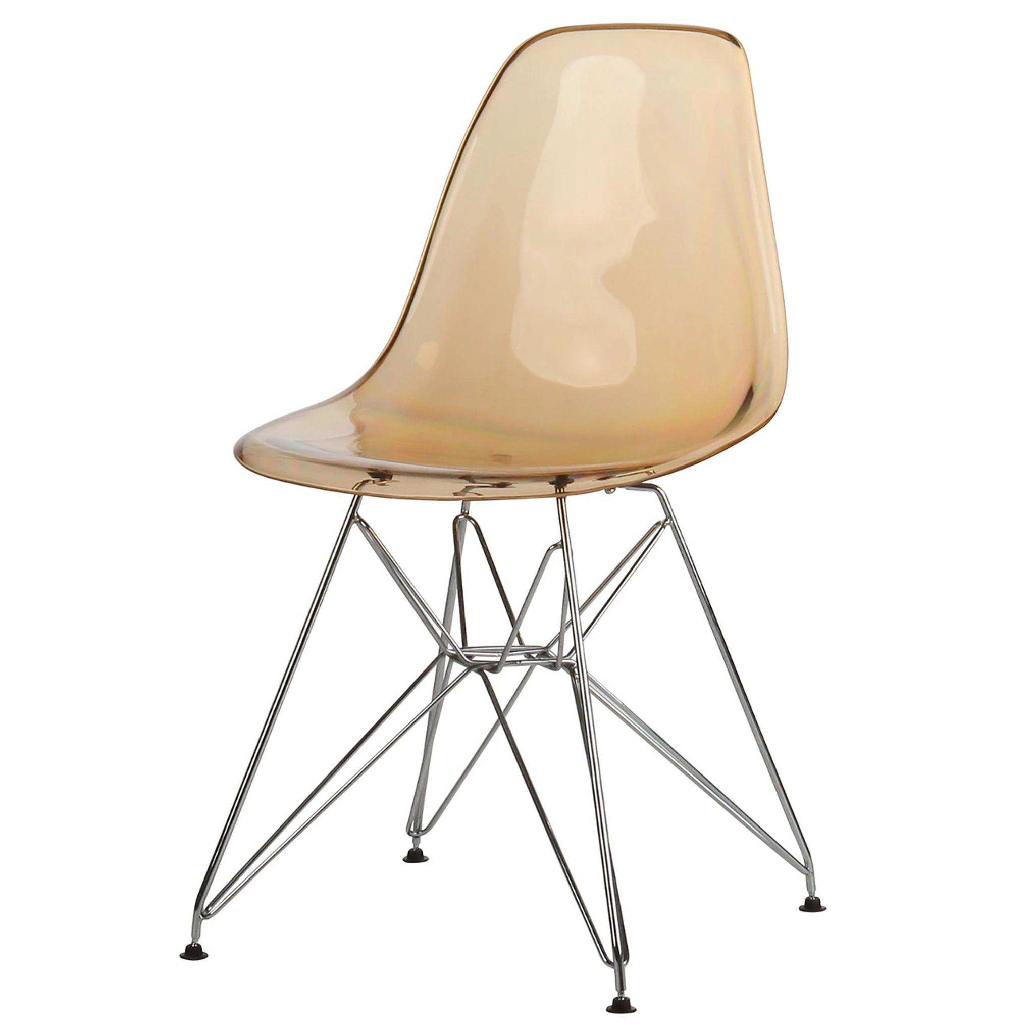 Amber Clear Acrylic Side Chair with Chrome Eiffel Base