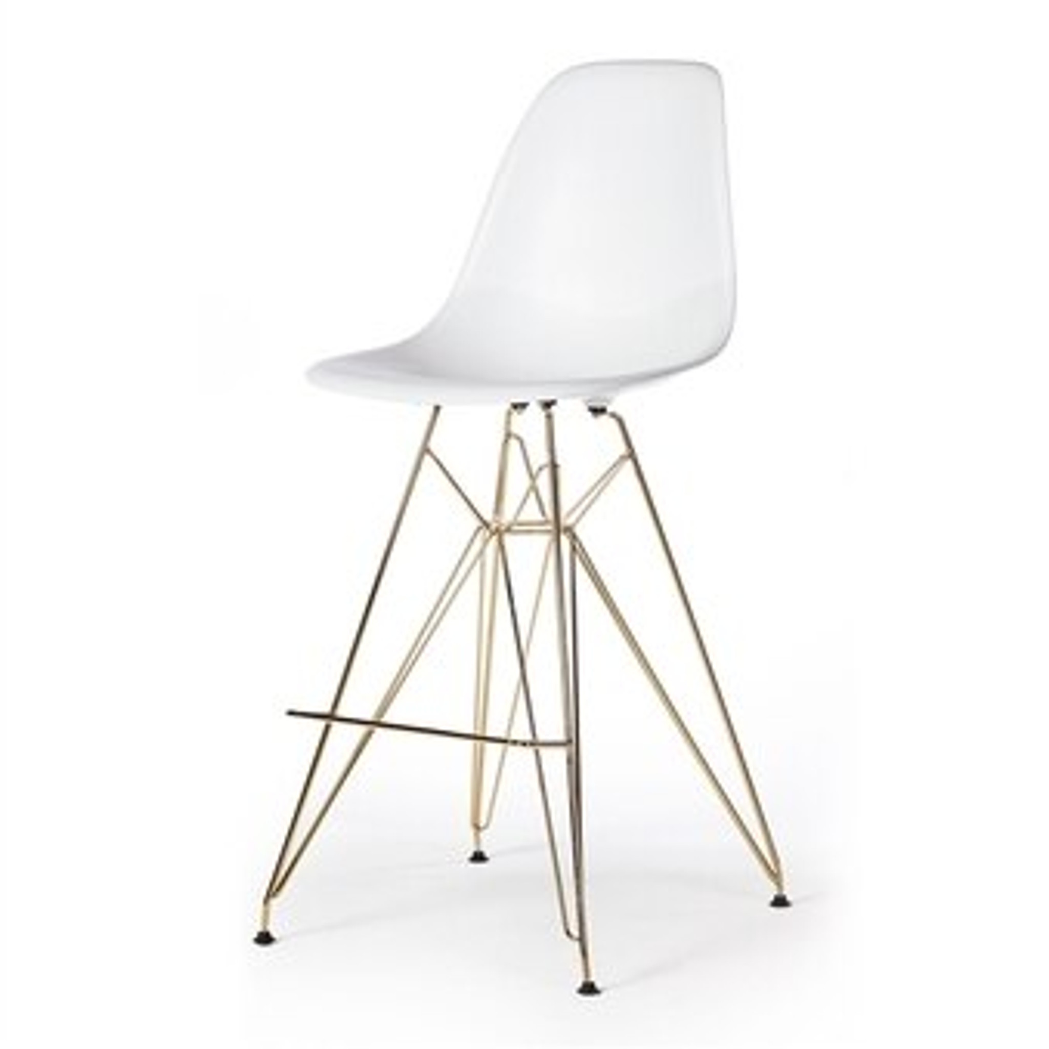 White Acrylic Counter Stool with Gold Eiffel Base
