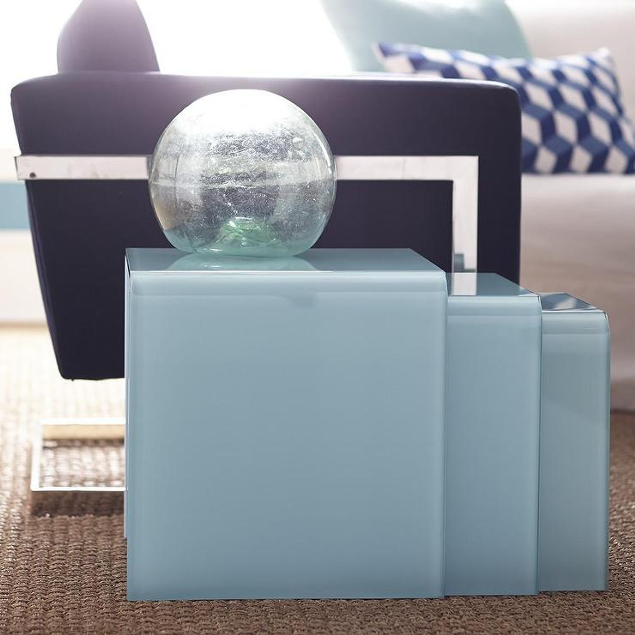 Baby Blue Lucite Waterfall Collection console coffee end table aqua modern