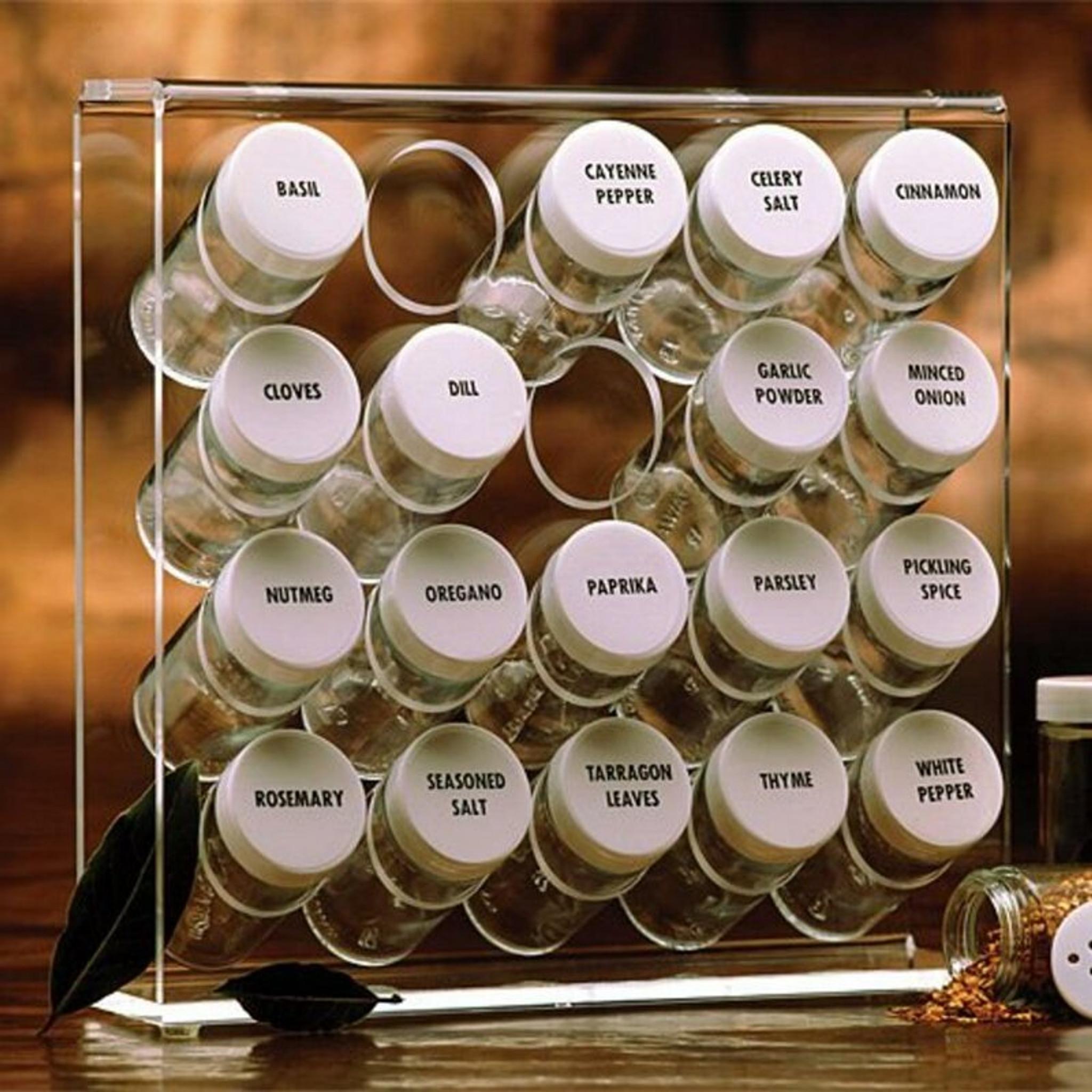 Clear Acrylic 20 Bottle Spice Rack Set