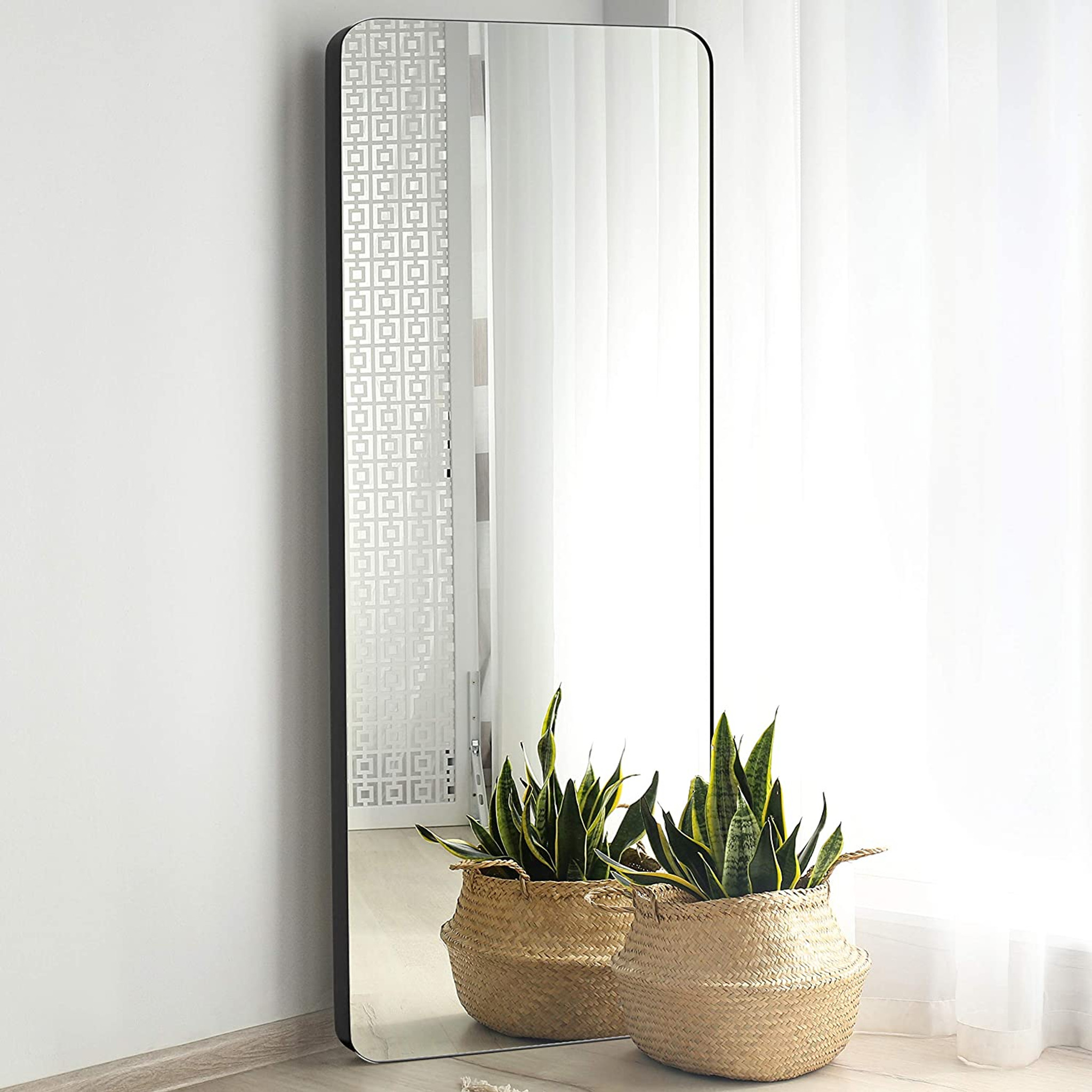 Modern Black Metal Frame Leaner Mirror with Rounded Corners