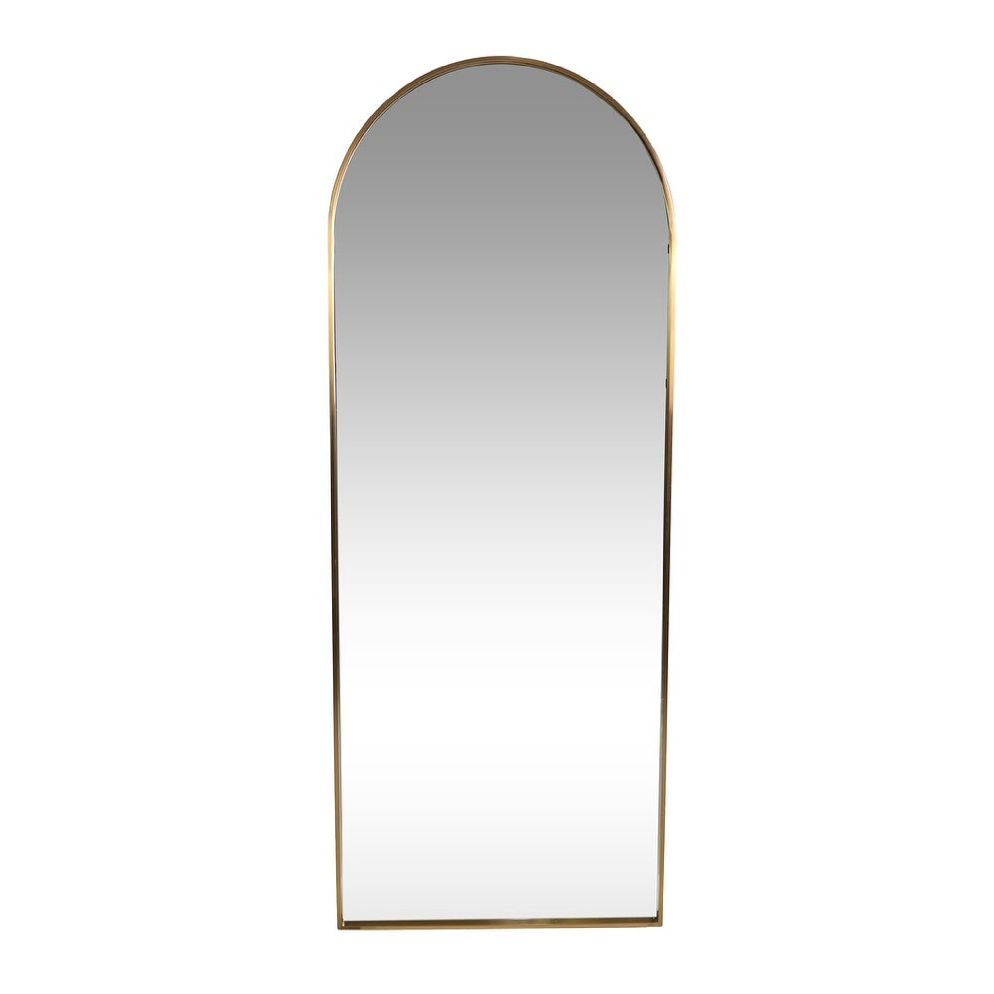 Modern Gold Leaner Mirror with Round Top