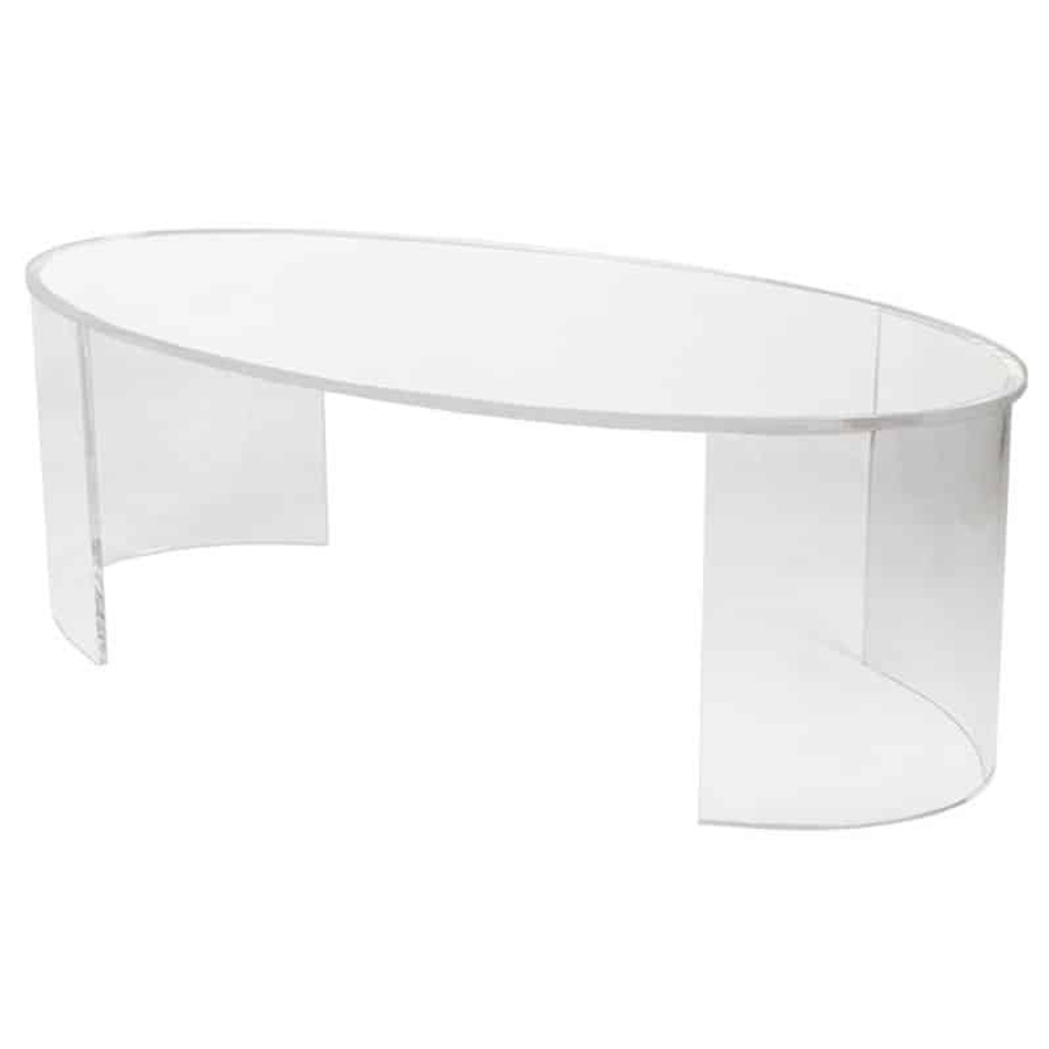 Clear Acrylic Oval Coffee Table in 3/4