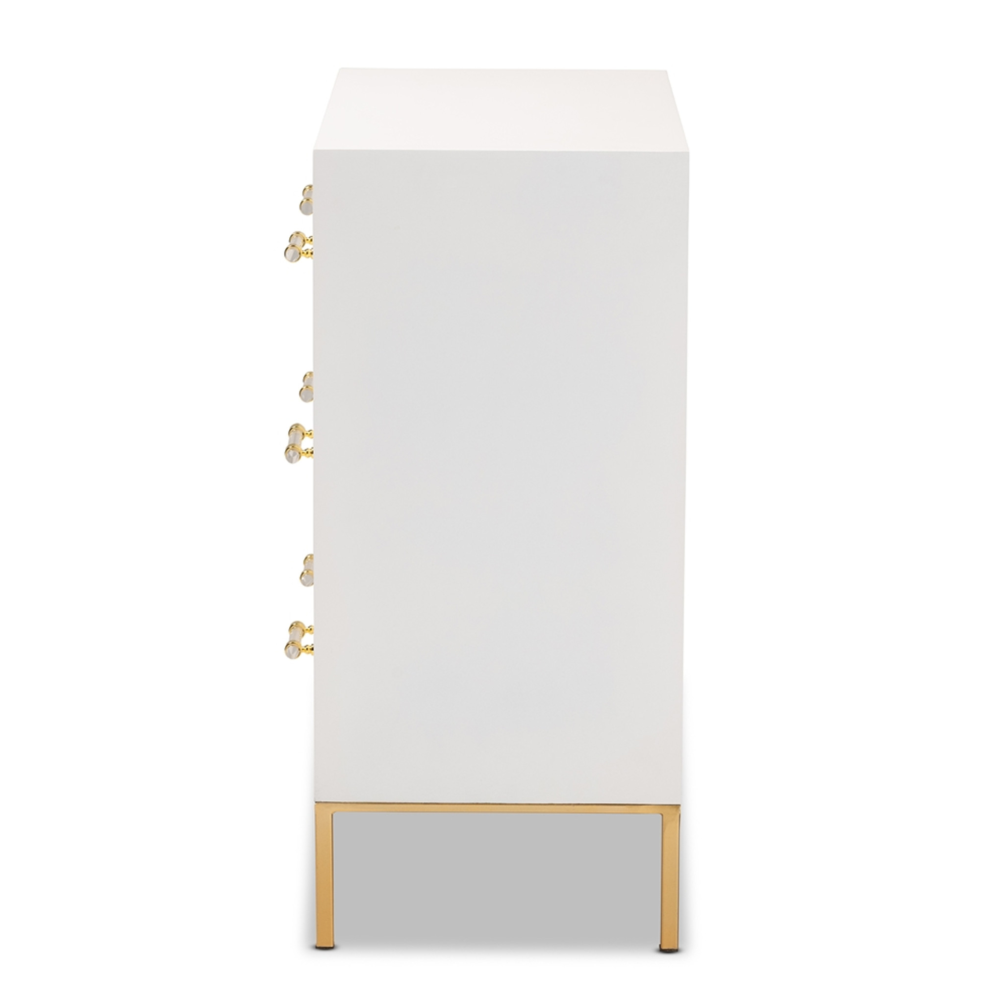 BAXTON STUDIO DANTE MODERN GLAM AND LUXE WHITE FINISHED WOOD AND GOLD FINISHED METAL 3-DRAWER STORAGE CABINET