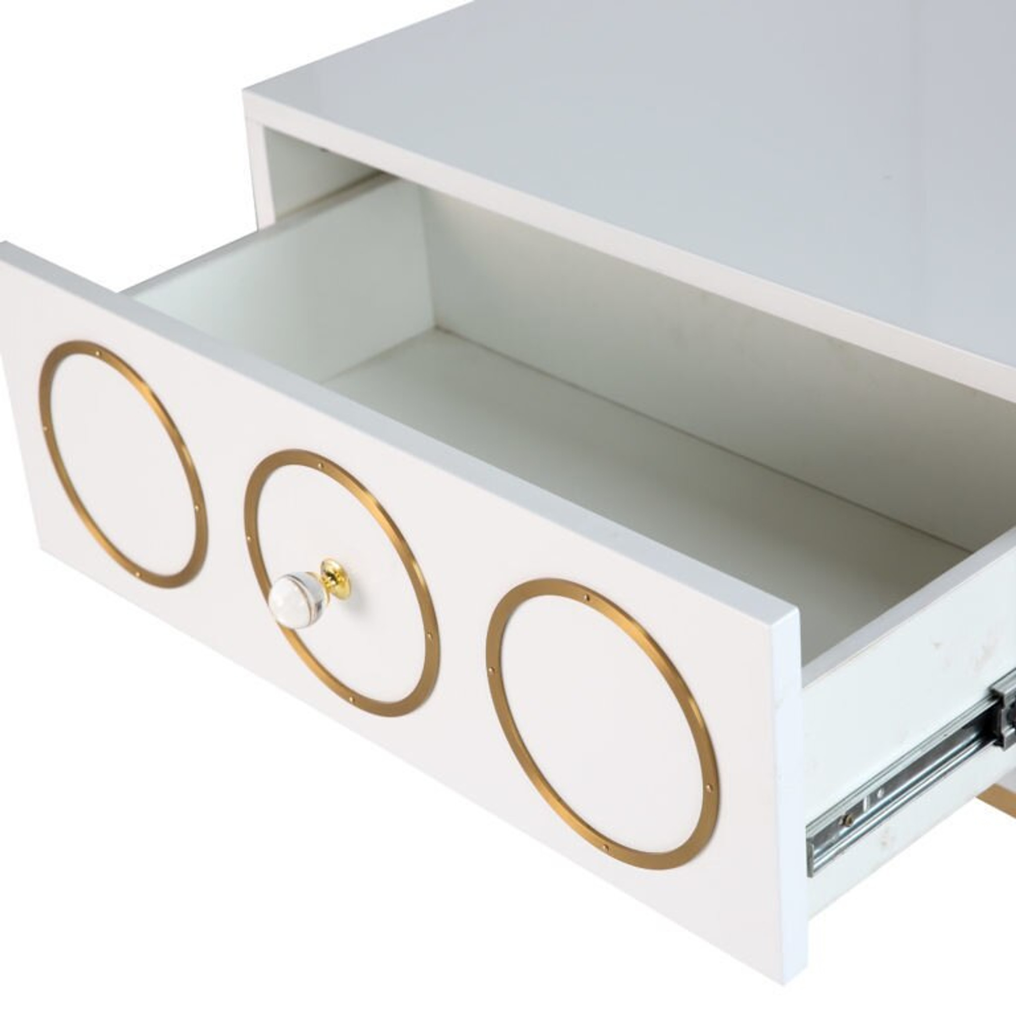 tov ella side table white nightstand one drawer storage gold legs clear acrylic hardware