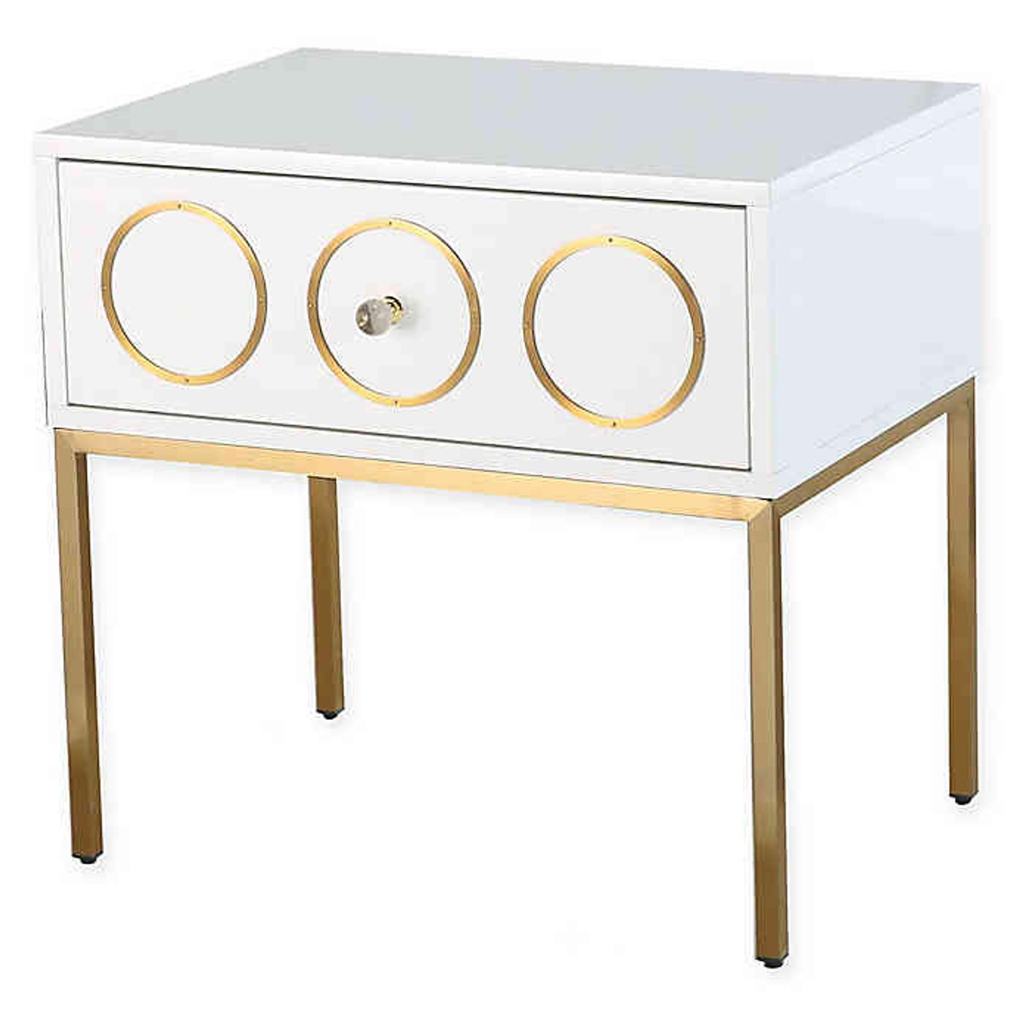 tov ella side table white nightstand one drawer storage gold legs