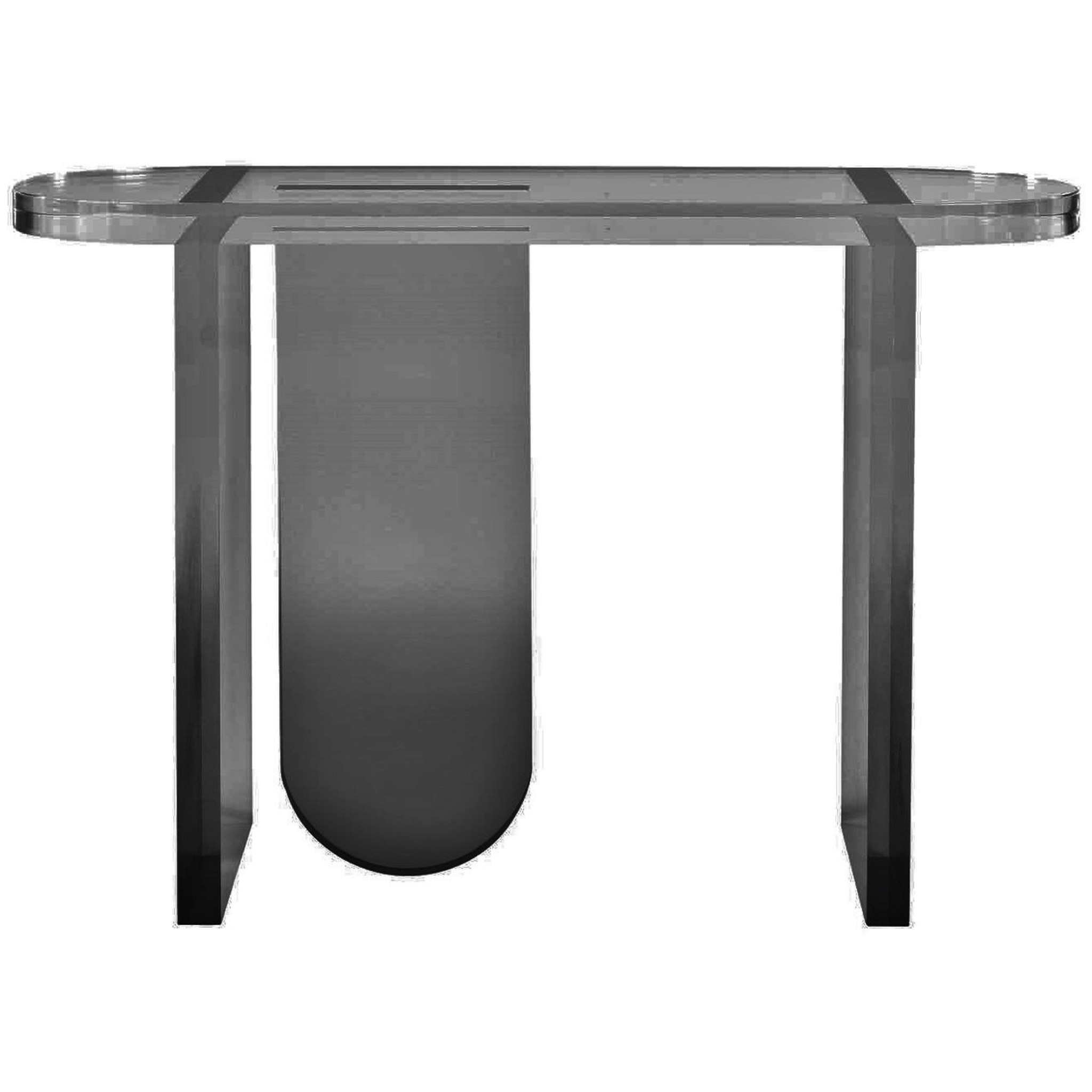 Groovy Smoke Grey Lucite Console Table