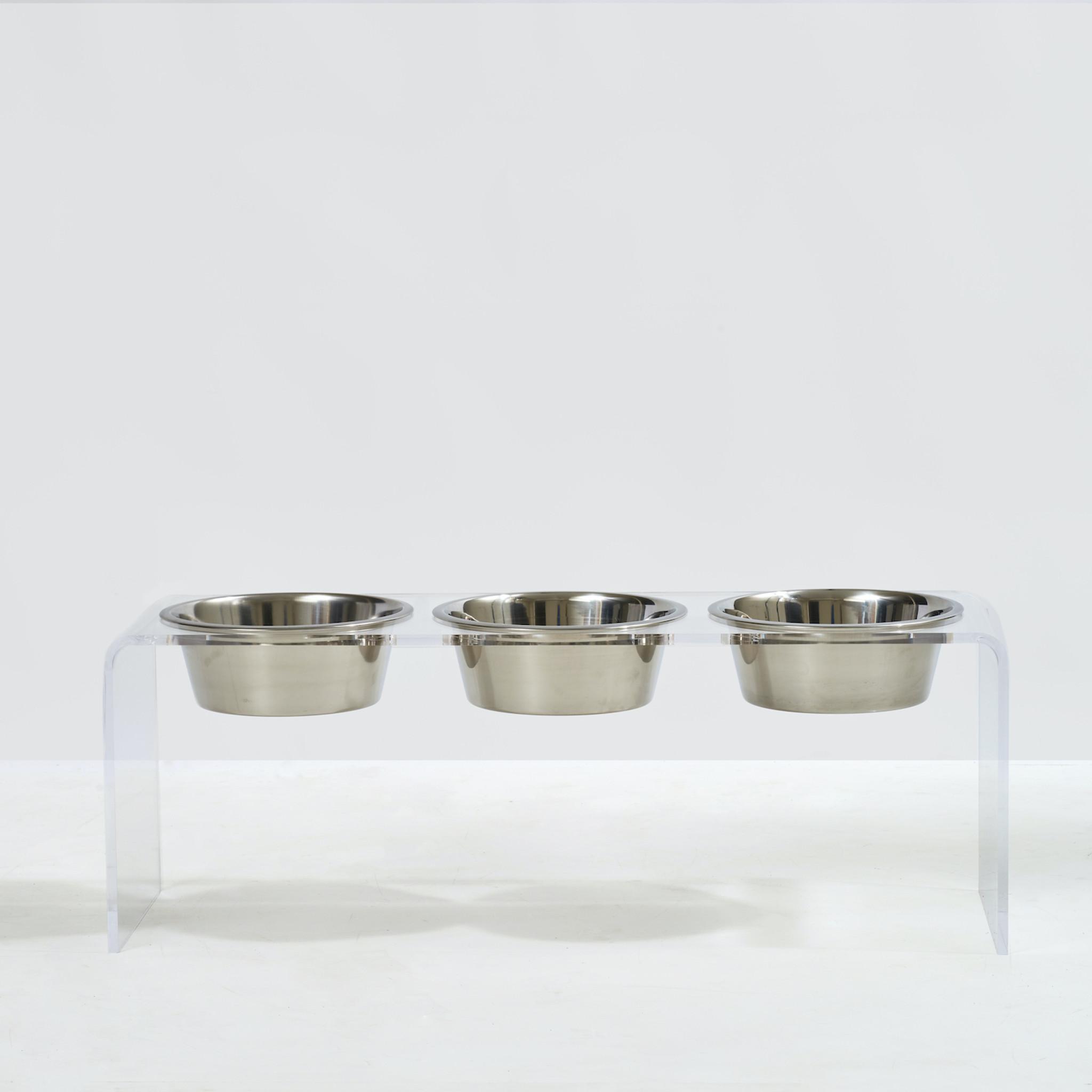 Tall Clear Acrylic Triple Bowl Feeder by Hiddin