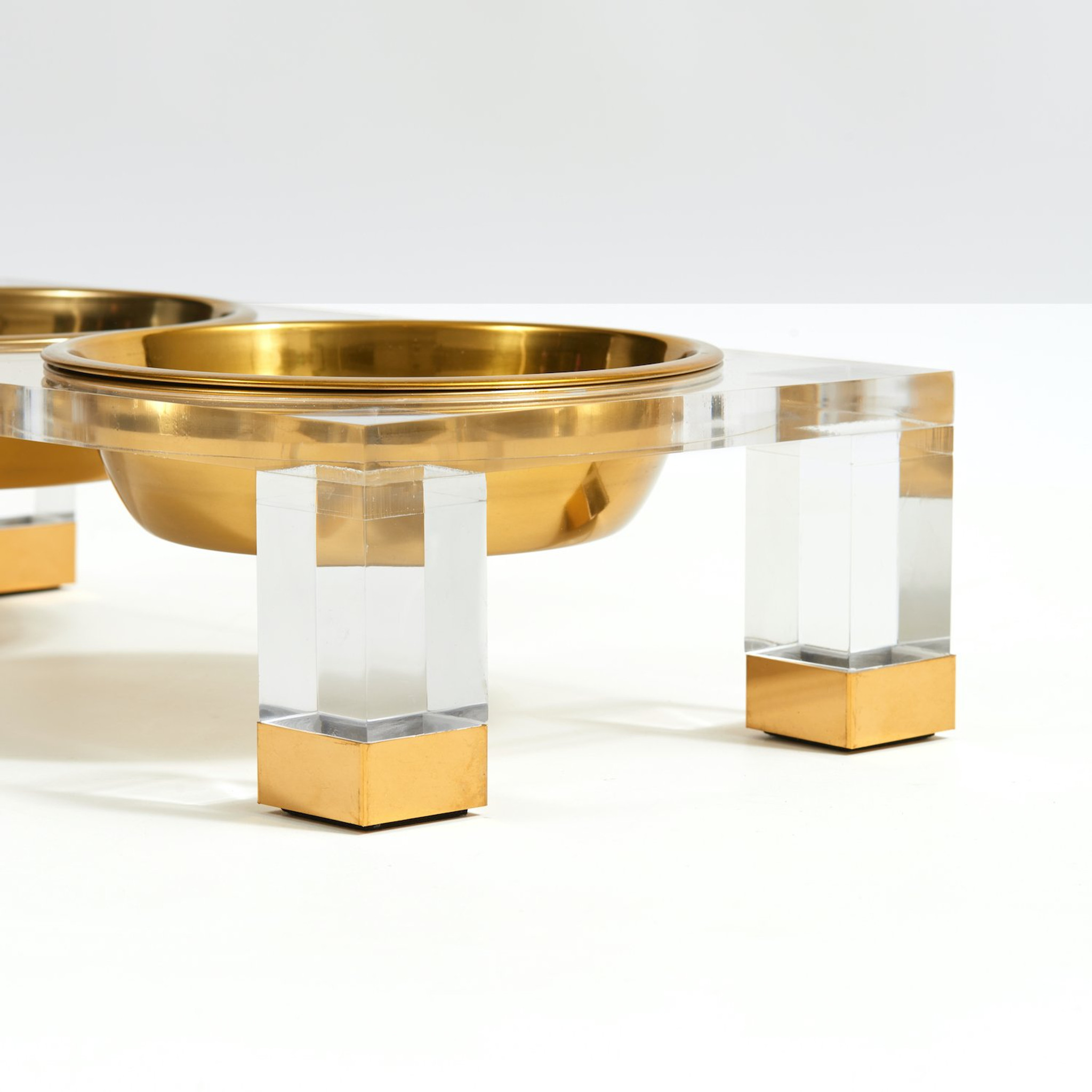 Clear Acrylic Glam Double elevated raised lucite modern gold silver Feeder Hiddin