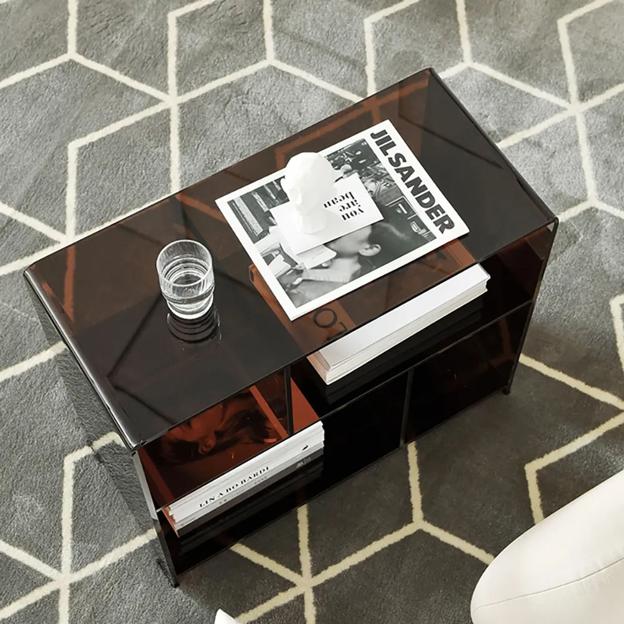 Sheer Brown Acrylic Side Table with Modern Cubbies