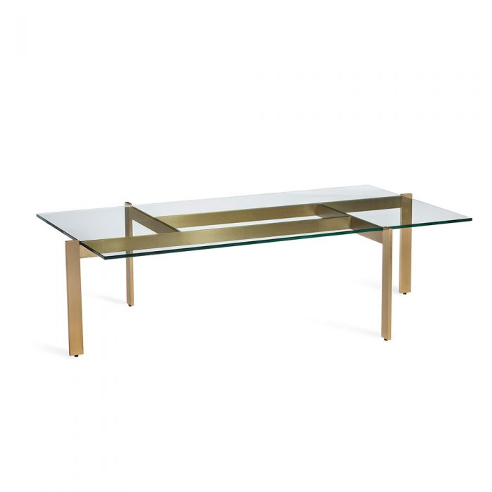 Brushed Brass Modern Base Coffee Table with Glass Top interlude home luc 118143