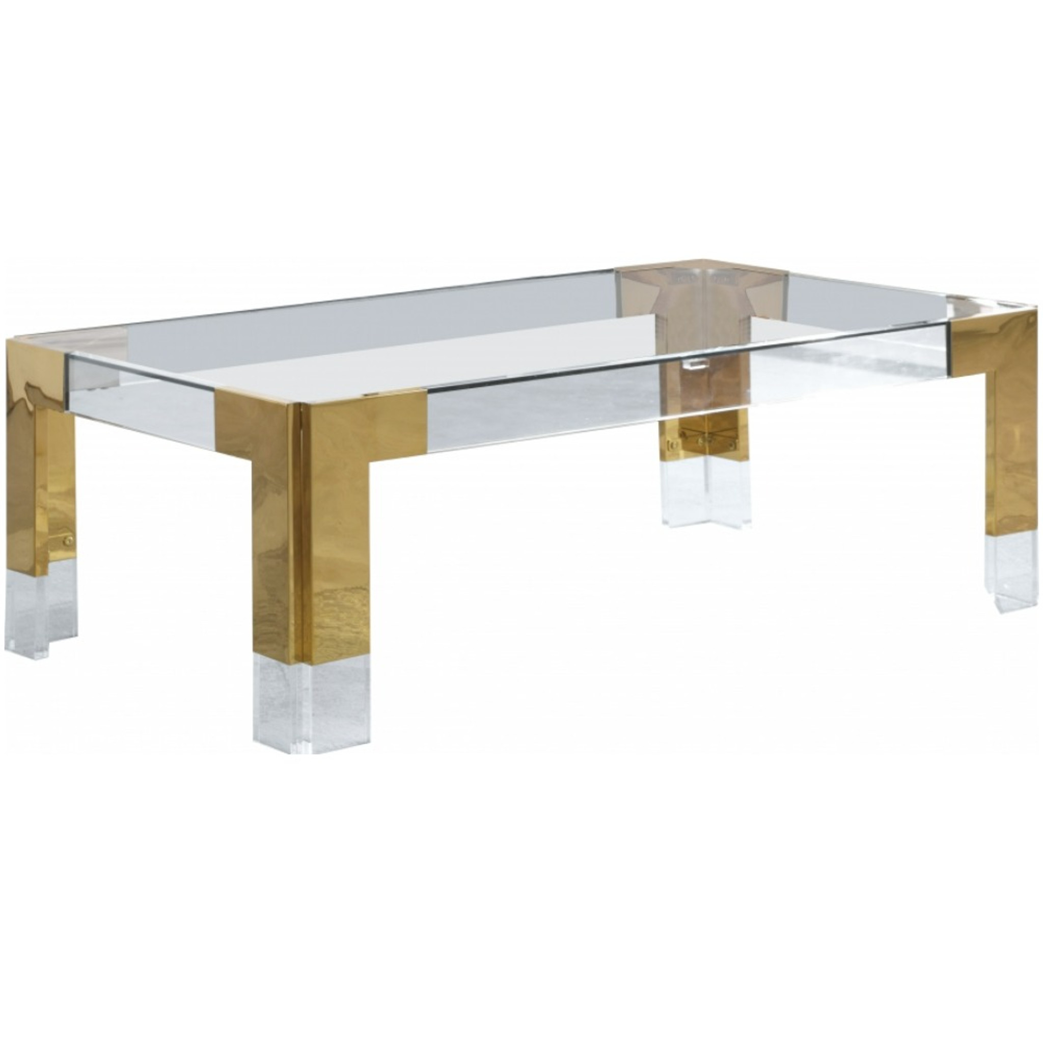 Retro Modern Brass and Lucite Coffee Table with Glass Top