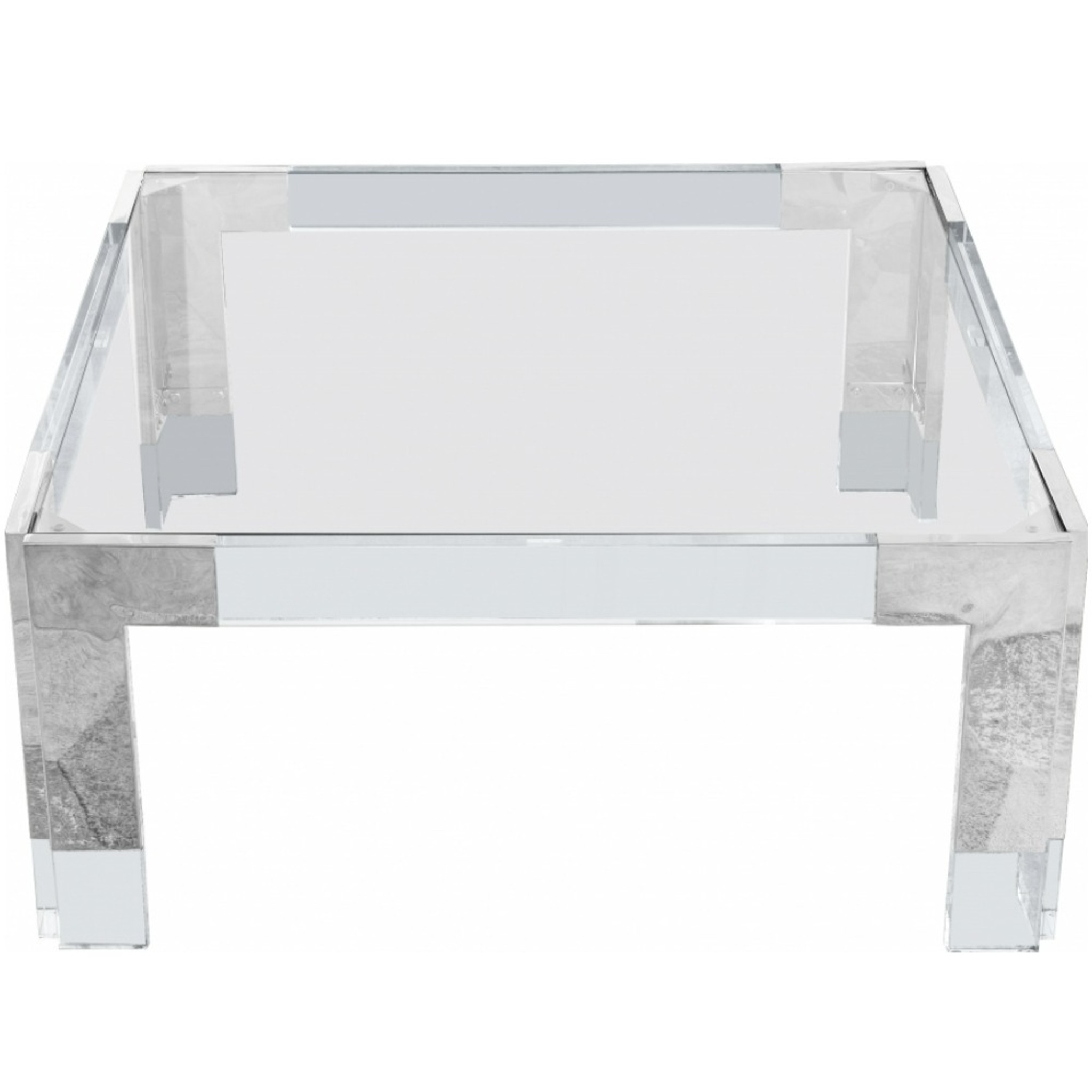 Retro Modern Chrome and Lucite Coffee Table with Glass Top