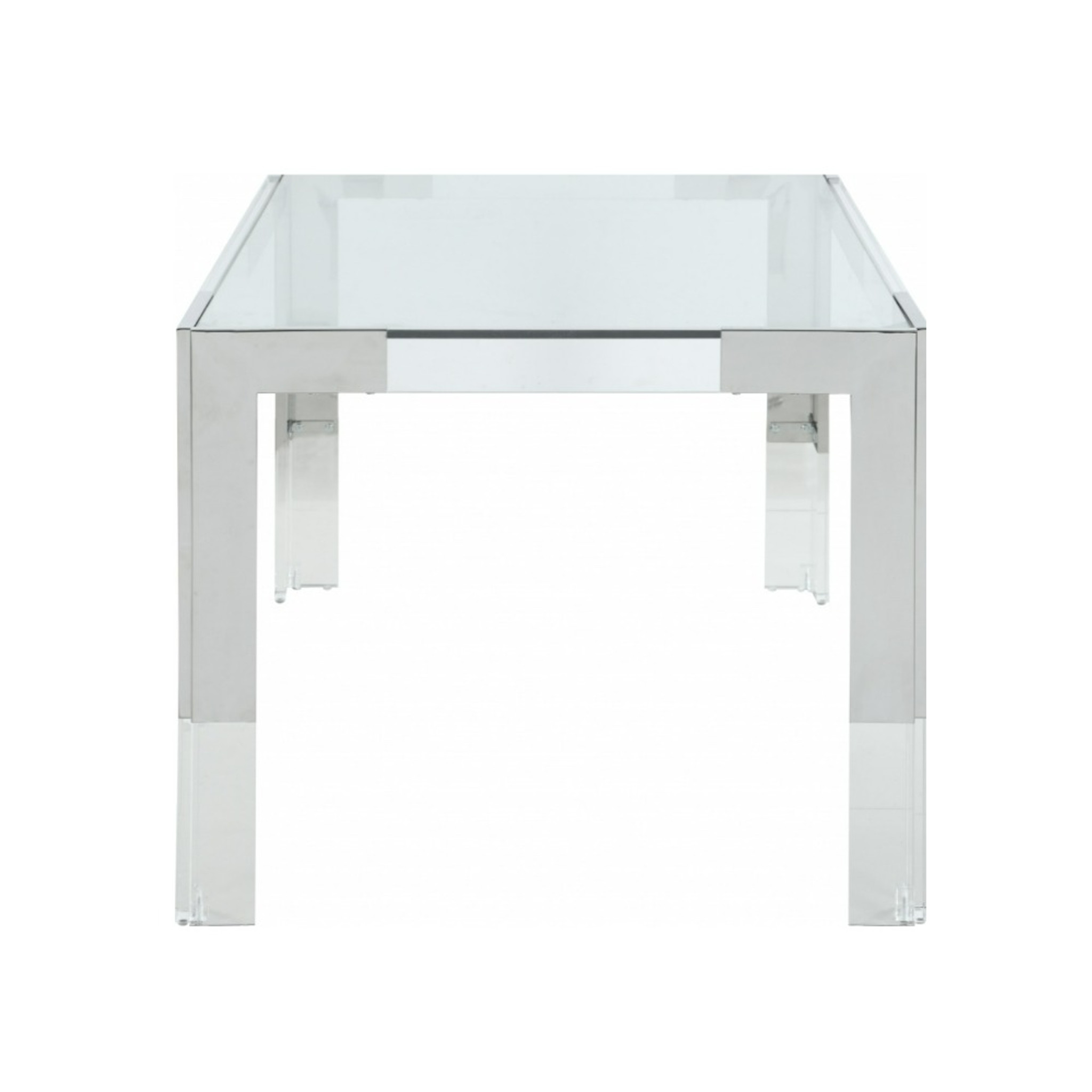 Retro Modern Chrome and Lucite Desk with Glass Top