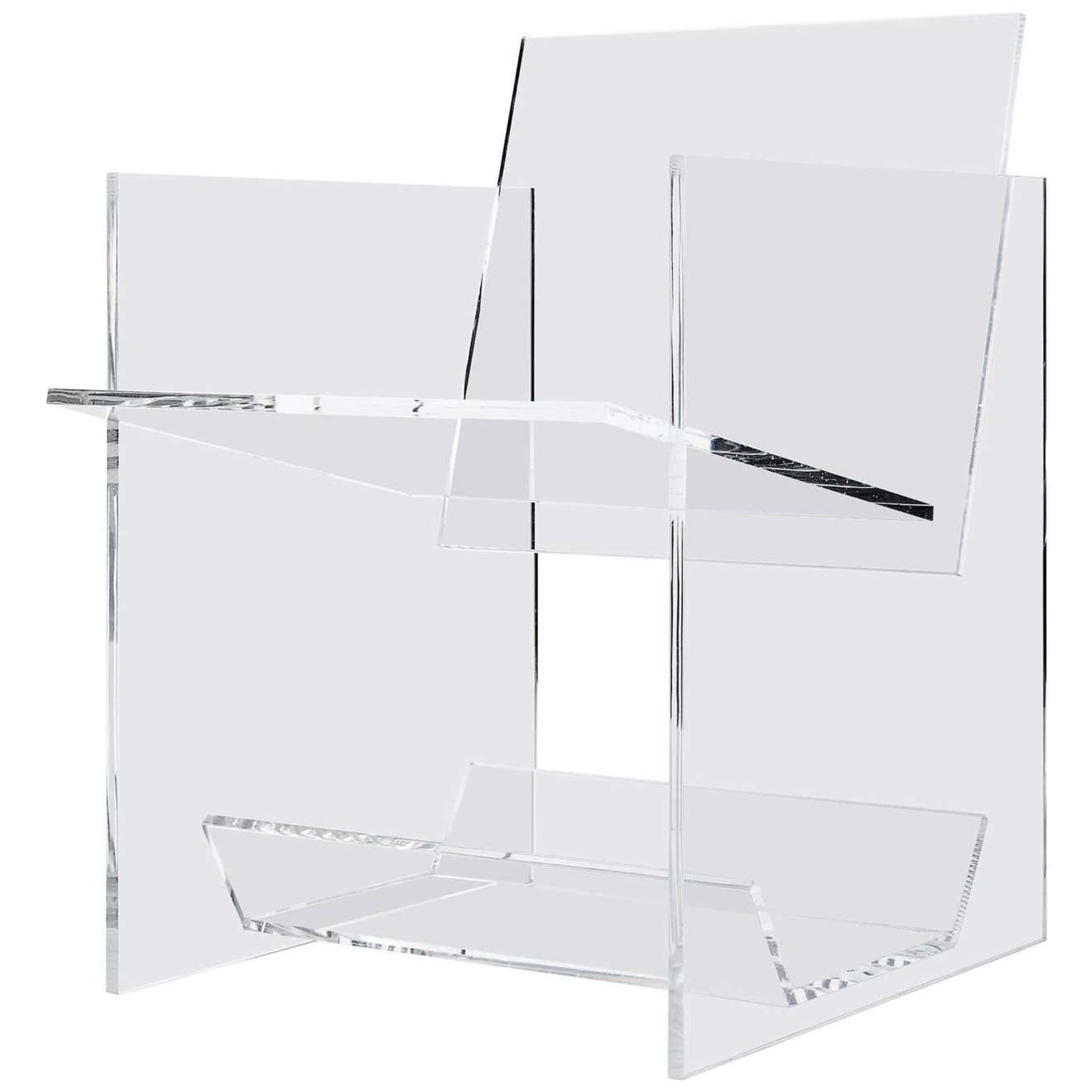 Clear Acrylic Arm Chair with Shelf