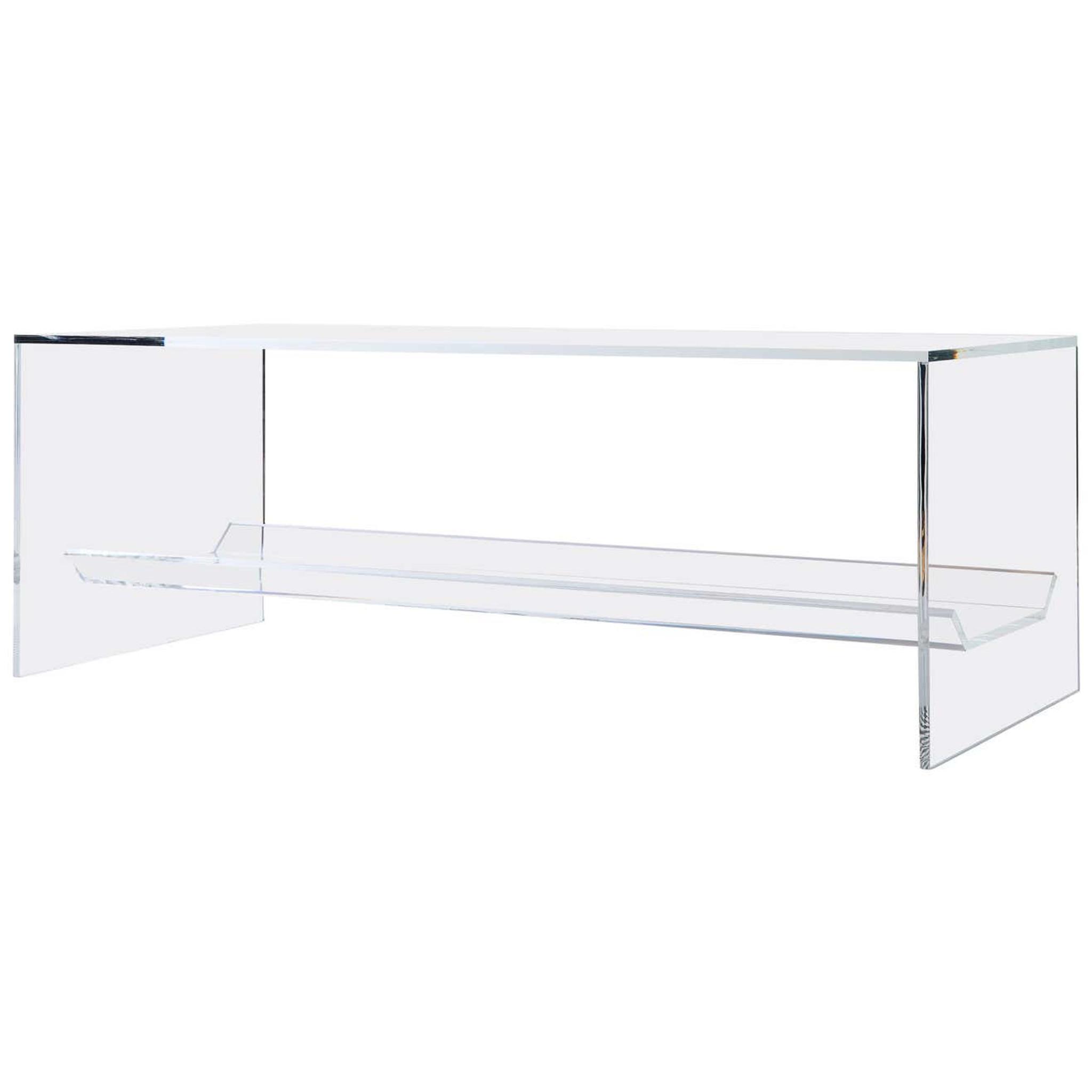 Clear Acrylic Bench with Storage Shelf