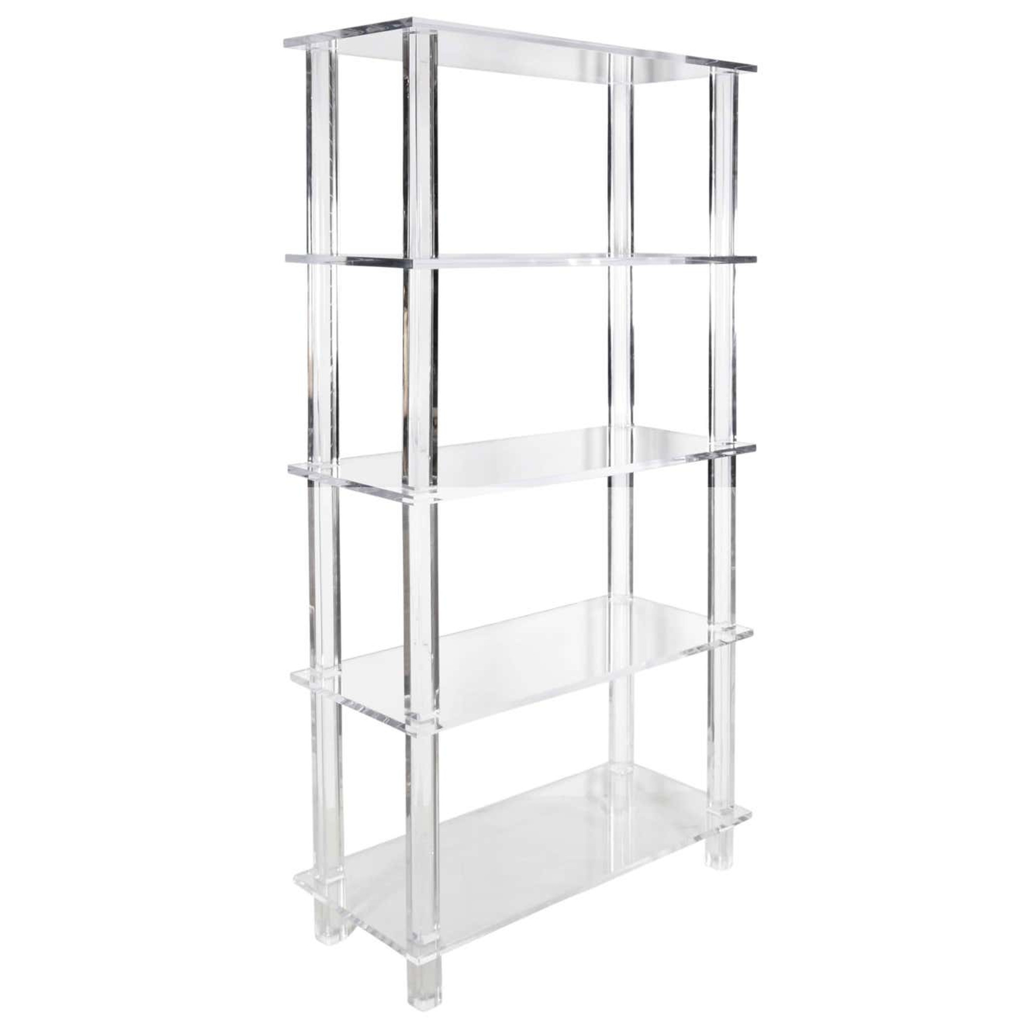 Clear Lucite Bookcase with Overhang Shelves