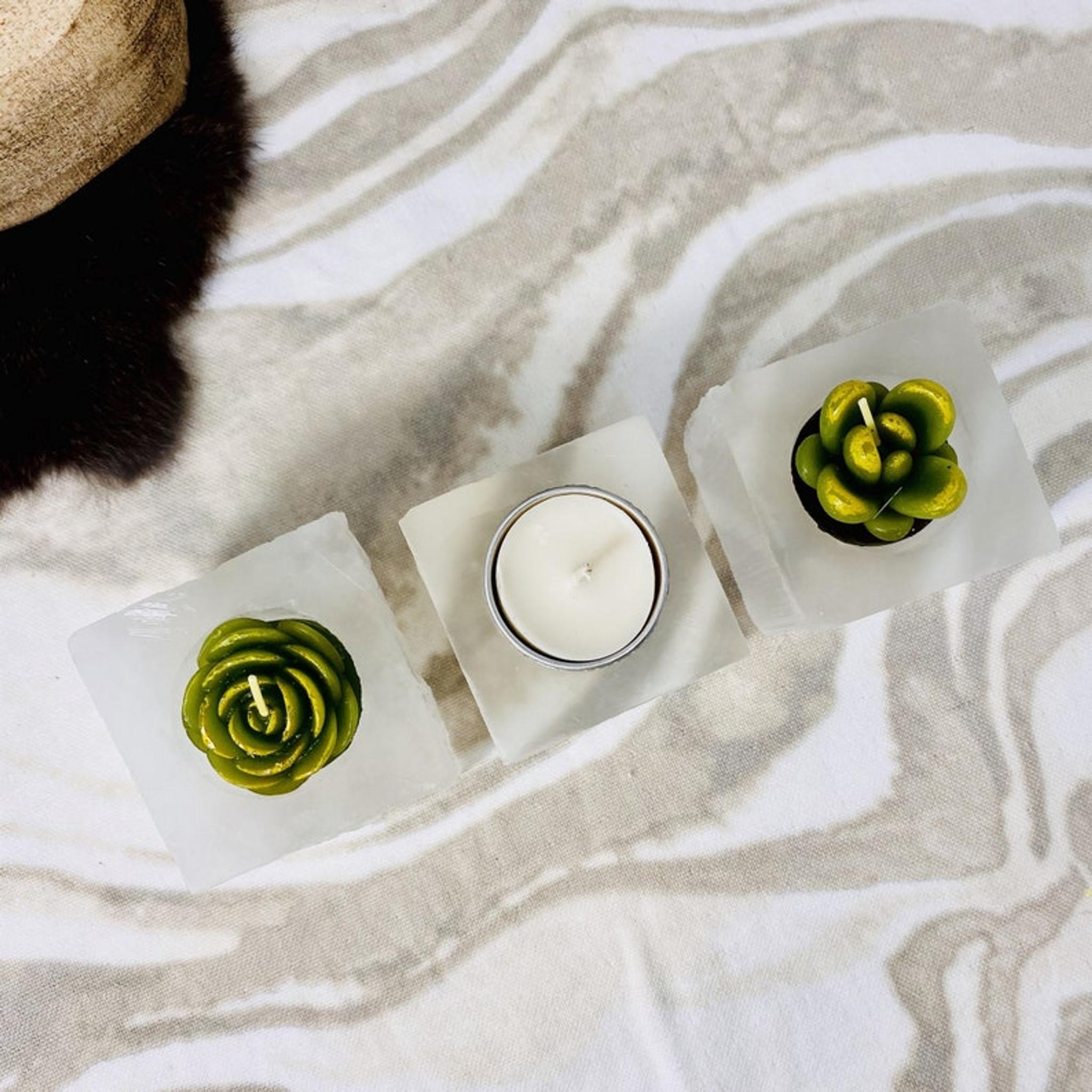 Set of 4 Square Selenite White Crystal Votive Candleholders