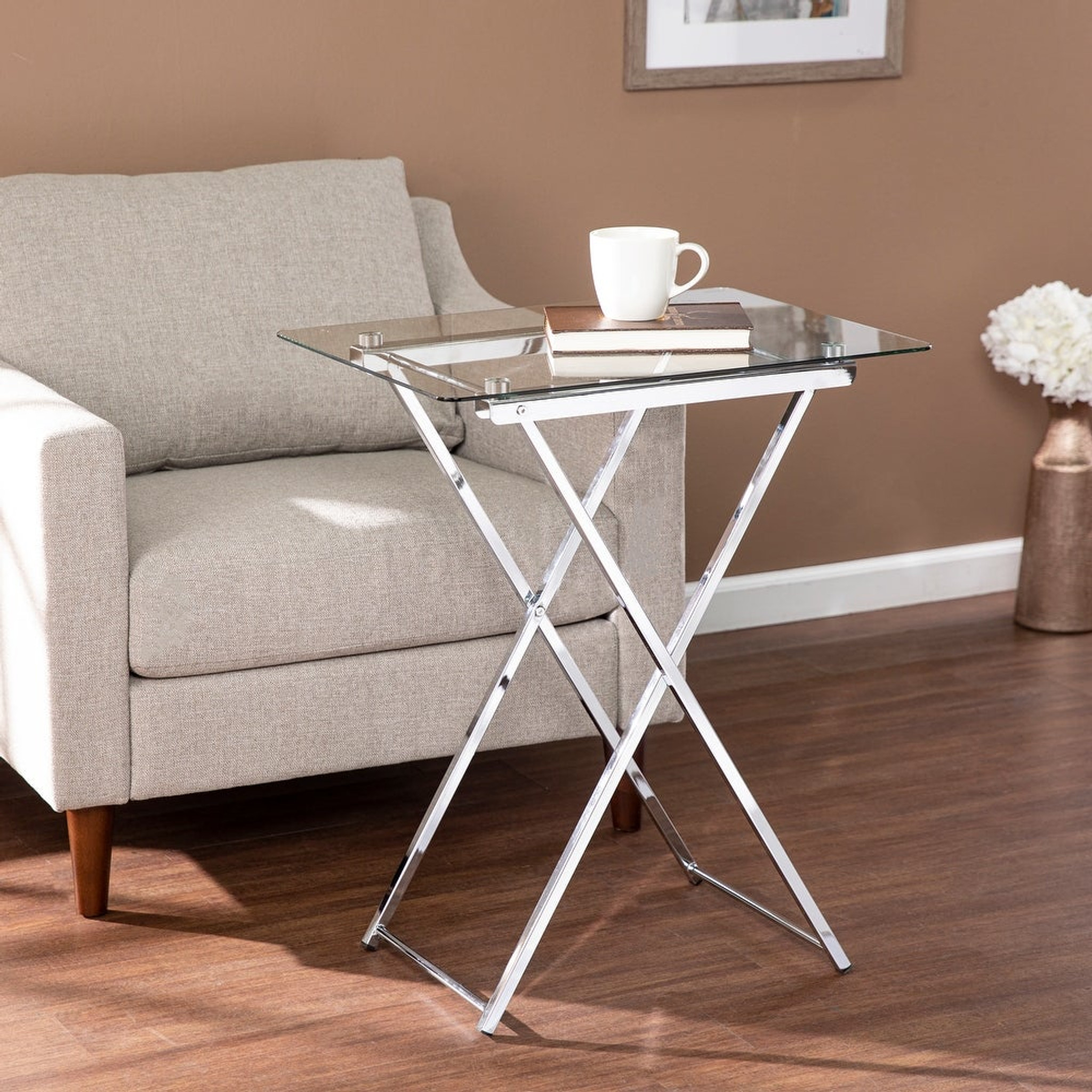 Chrome and Glass Top Folding Tray Table