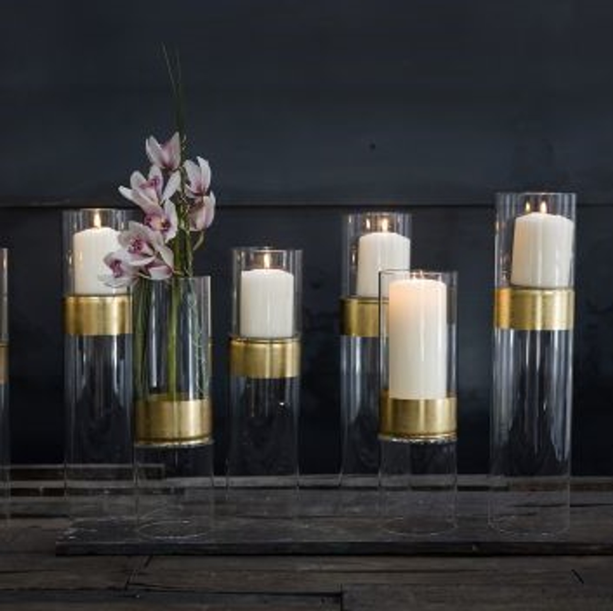 Tall Clear Glass Pillar Candle Hurricanes with Gold Band