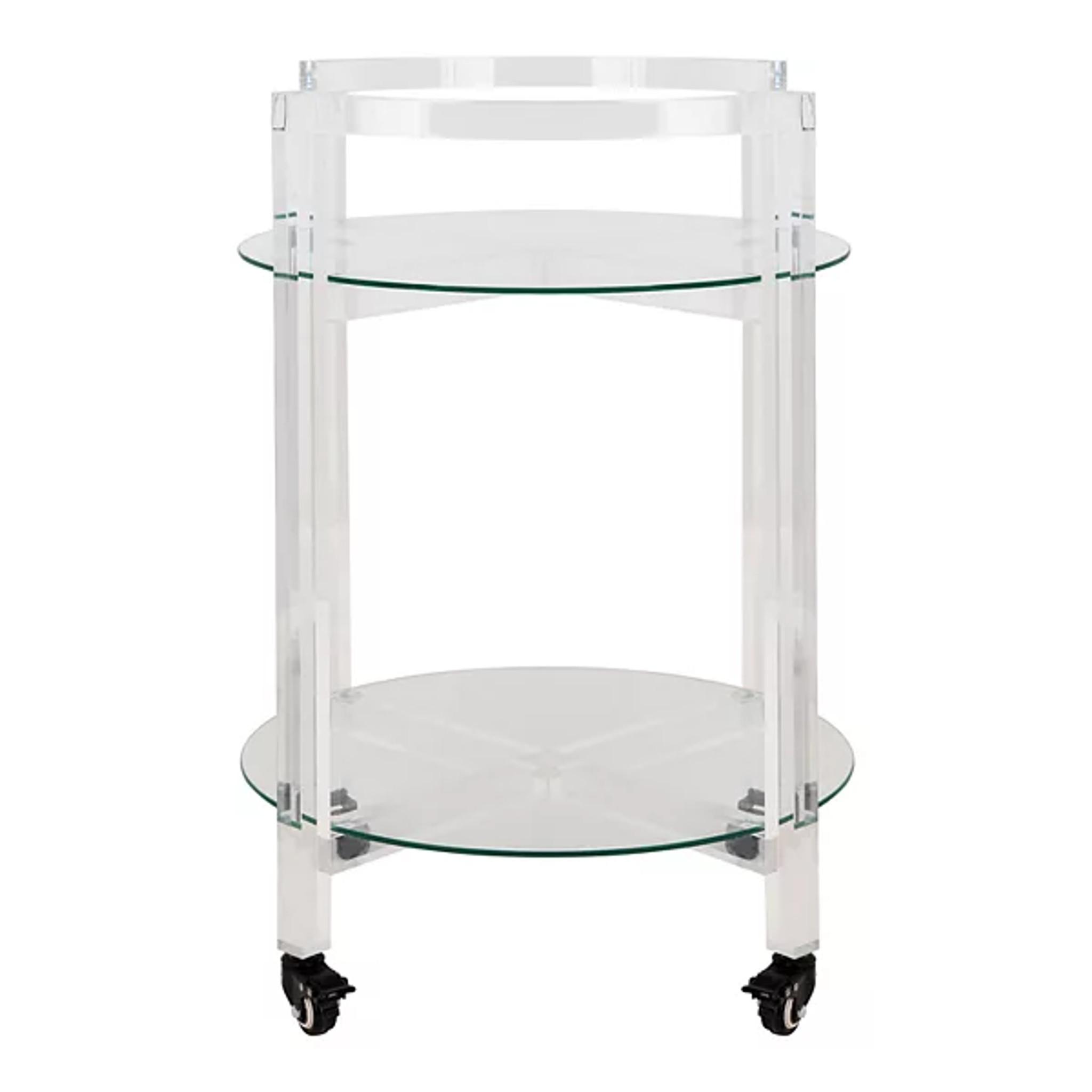 Modern Round Lucite Bar Cart with Glass Shelf and Wheels (SFV3104A) jules tier